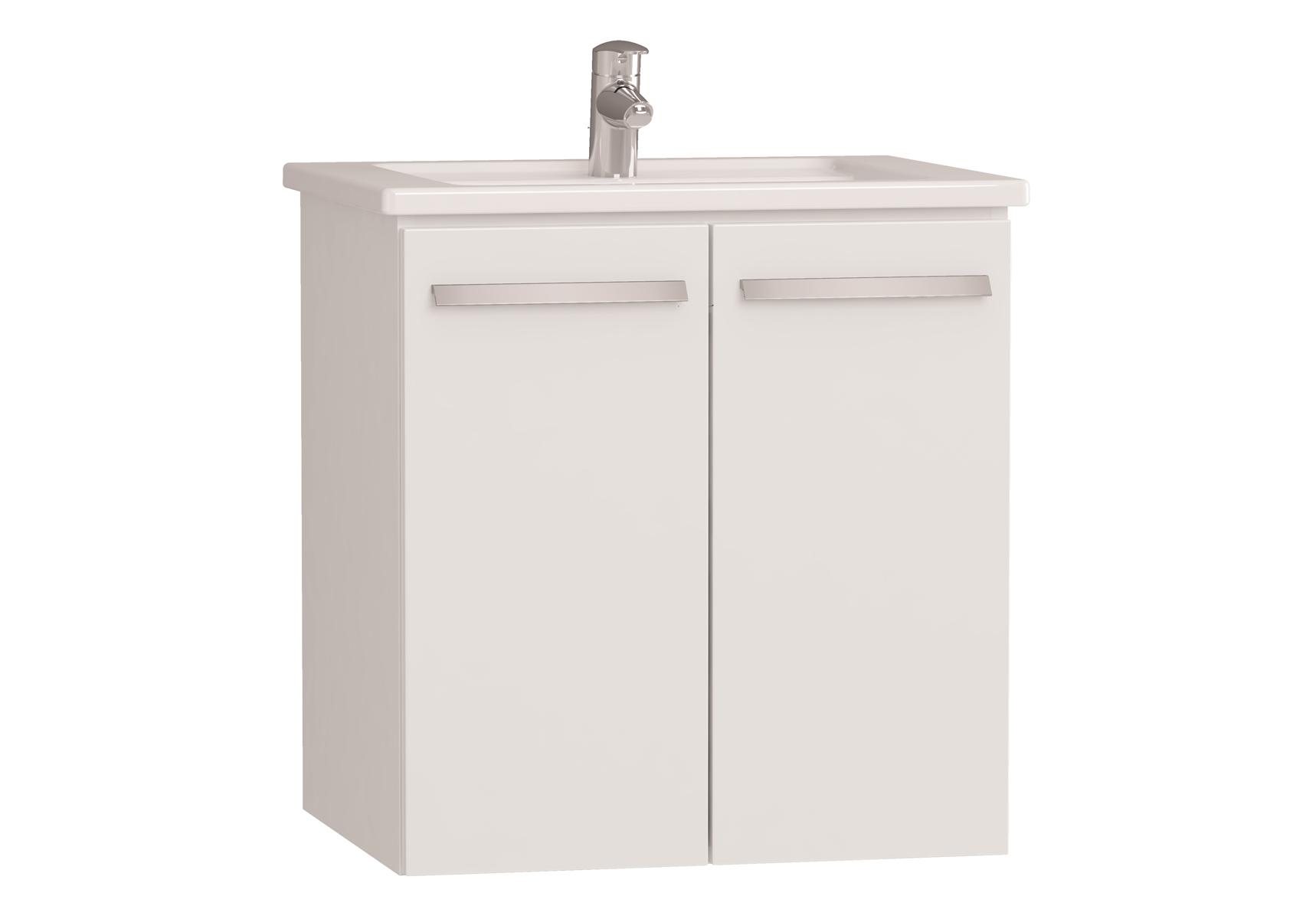 Integra meuble avec plan céramique avec portes, 60 cm, blanc haute brillance