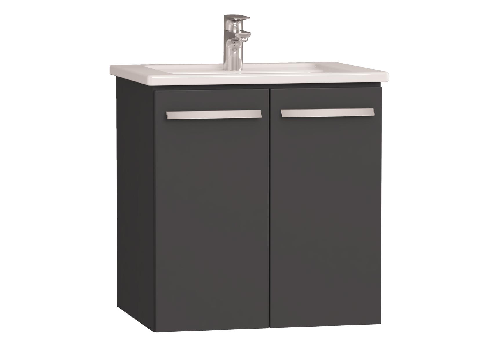 Integra meuble avec plan céramique avec portes, 60 cm, anthraciteacite haute brillance