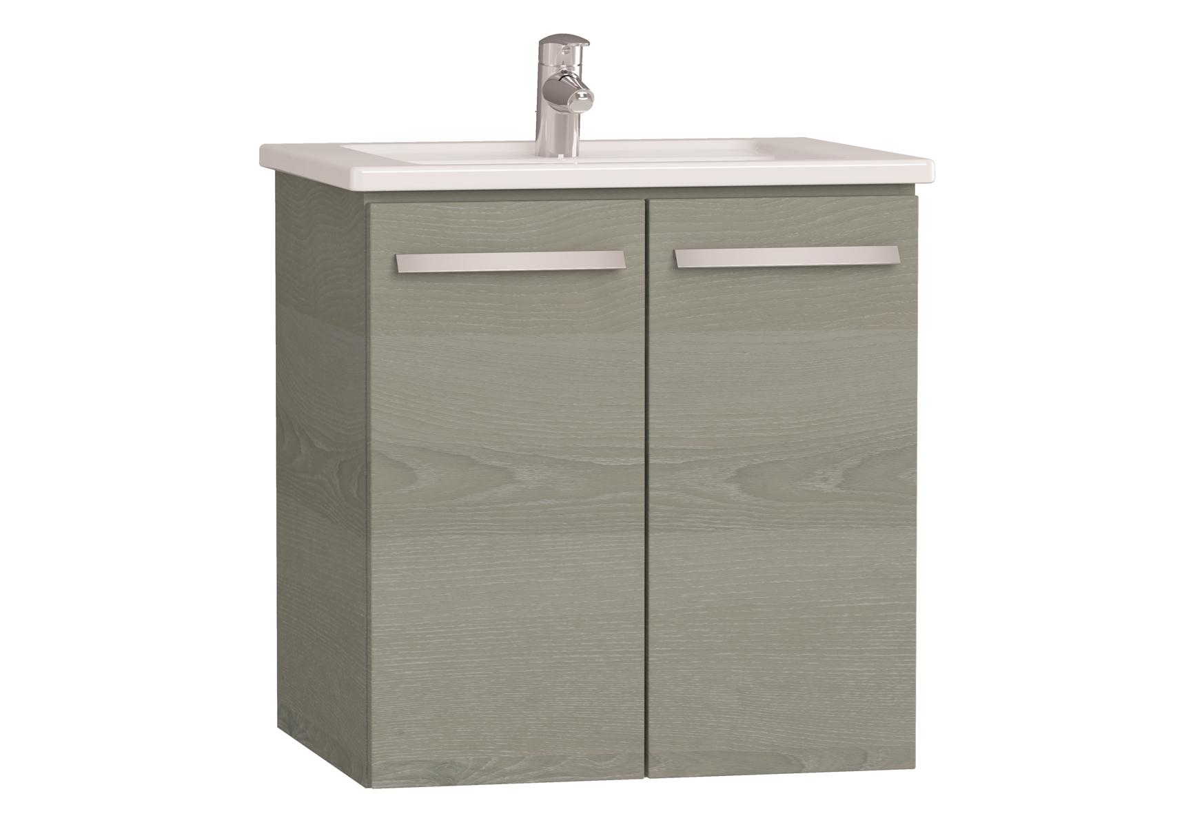 Integra meuble avec plan céramique avec portes, 60 cm, chêne gris naturel
