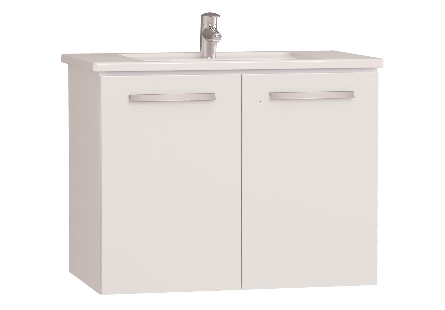 Integra meuble avec plan céramique avec portes, 80 cm, blanc haute brillance