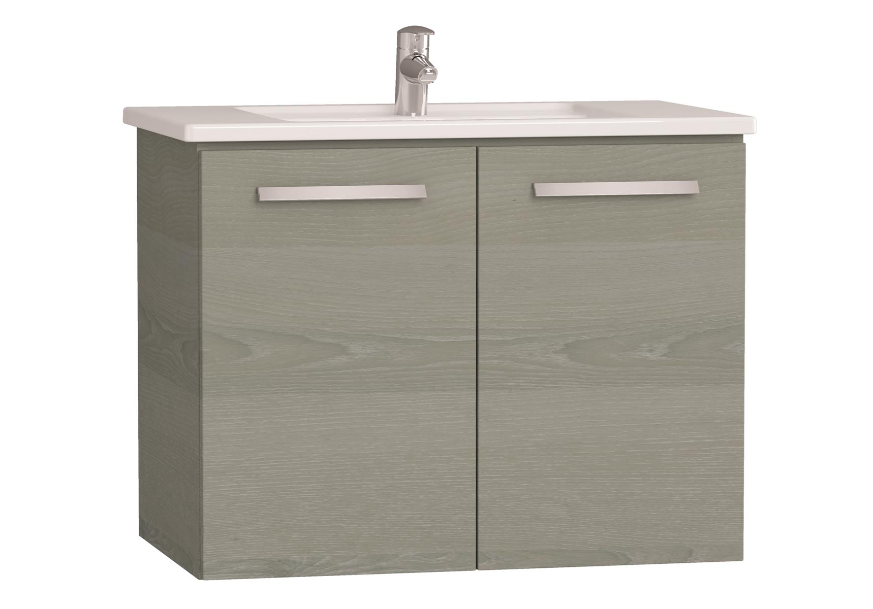 Integra meuble avec plan céramique avec portes, 80 cm, chêne gris naturel