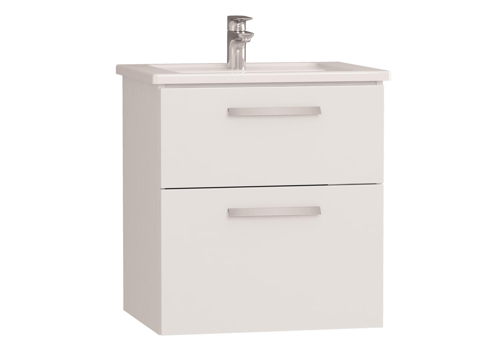 Integra meuble avec plan céramique avec deux tiroirs, 60 cm, blanc haute brillance