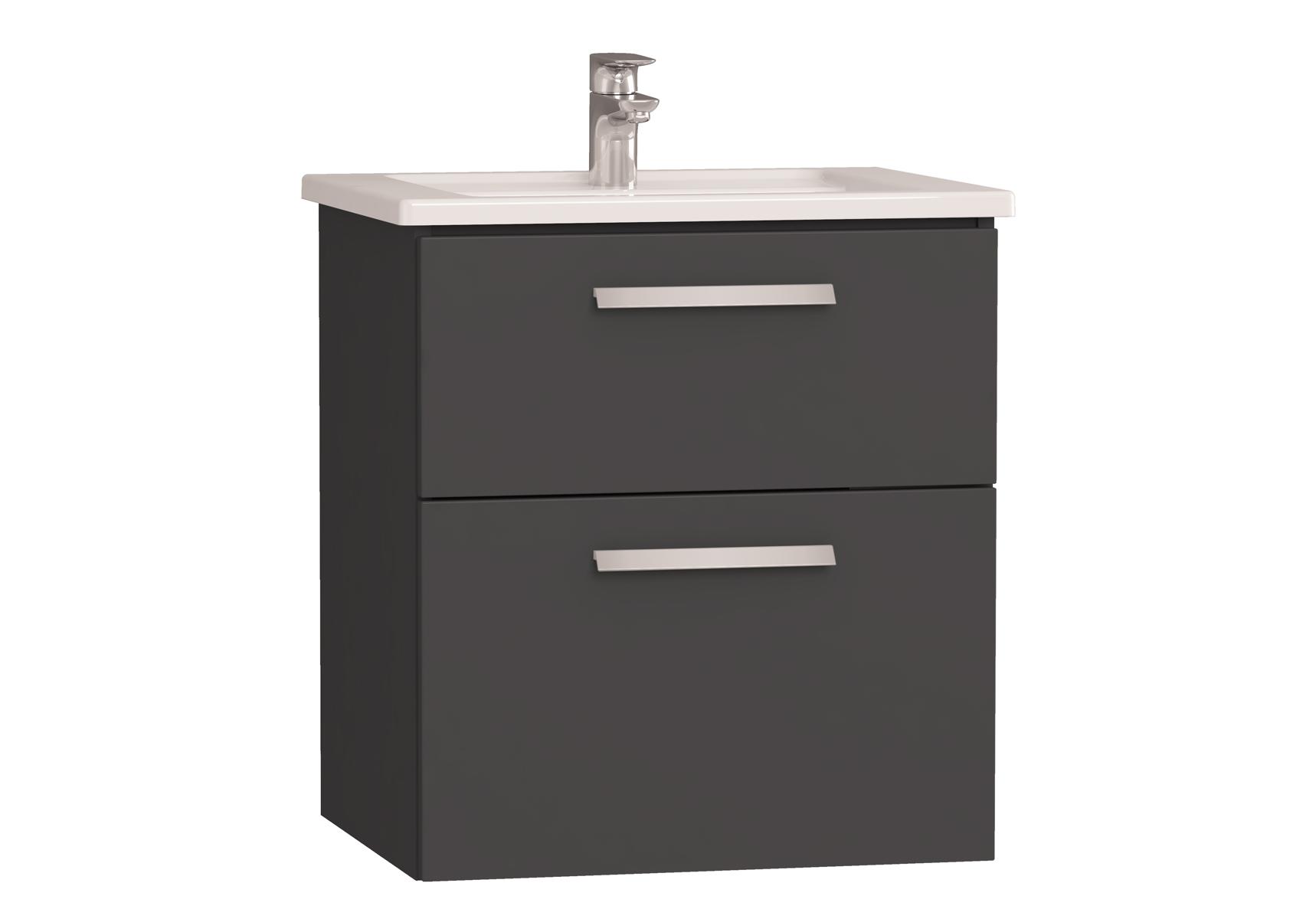 Integra meuble avec plan céramique avec deux tiroirs, 60 cm, anthraciteacite haute brillance