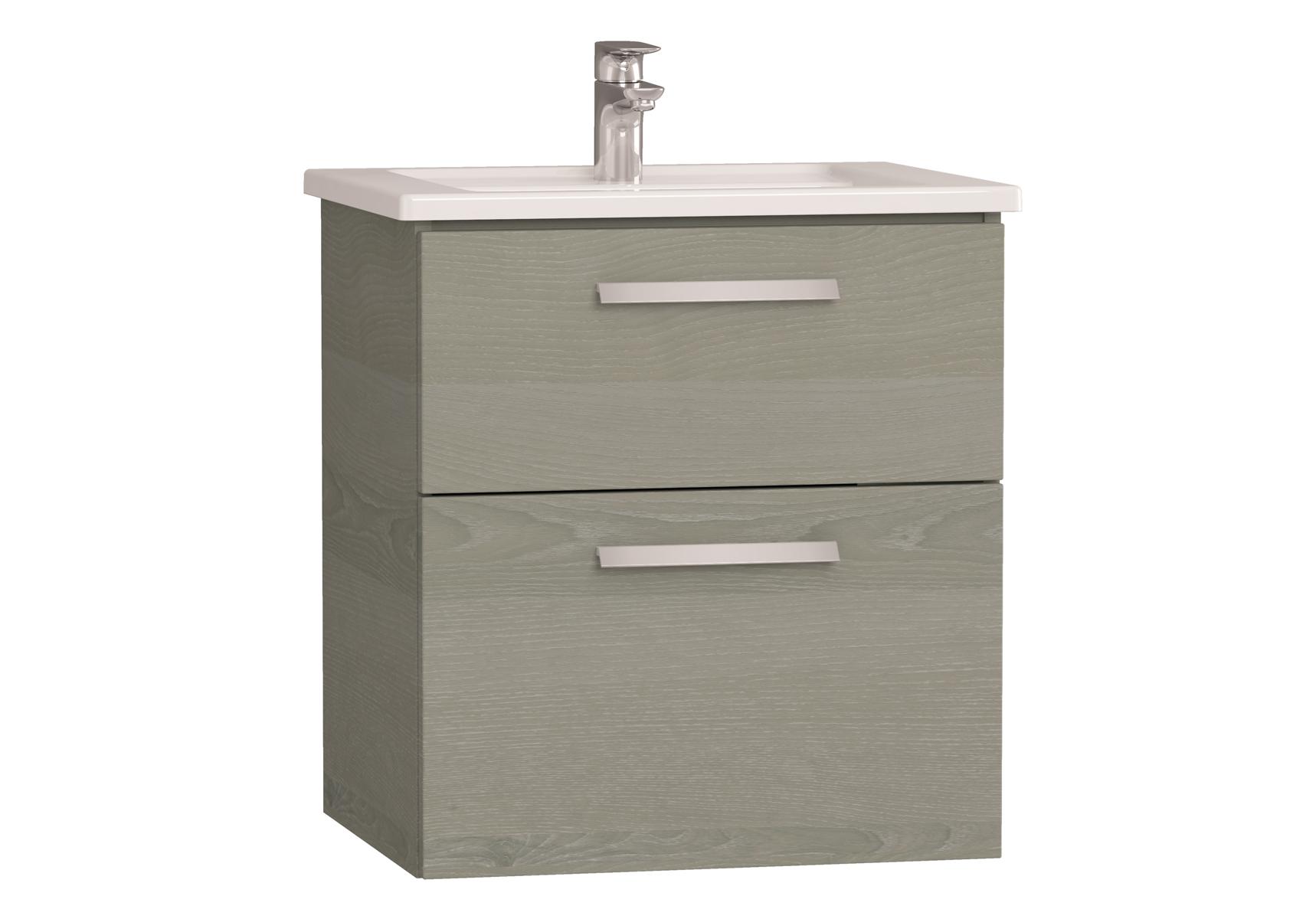 Integra meuble avec plan céramique avec deux tiroirs, 60 cm, chêne gris naturel
