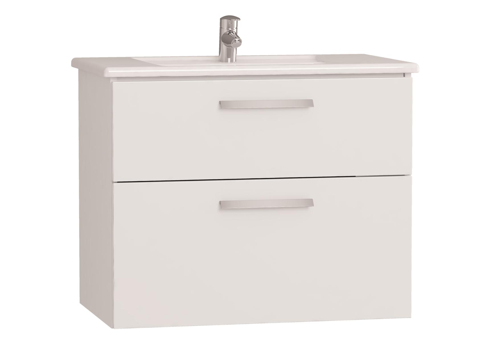 Integra meuble avec plan céramique avec deux tiroirs, 80 cm, blanc haute brillance