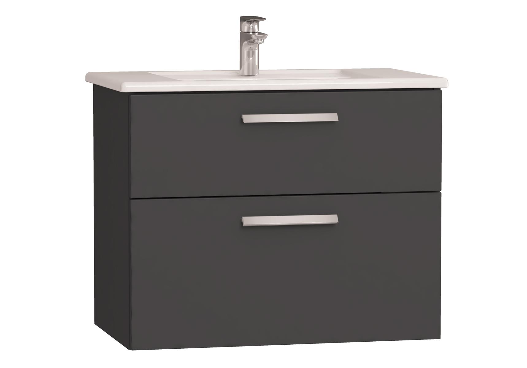 Integra meuble avec plan céramique avec deux tiroirs, 80 cm, anthraciteacite haute brillance