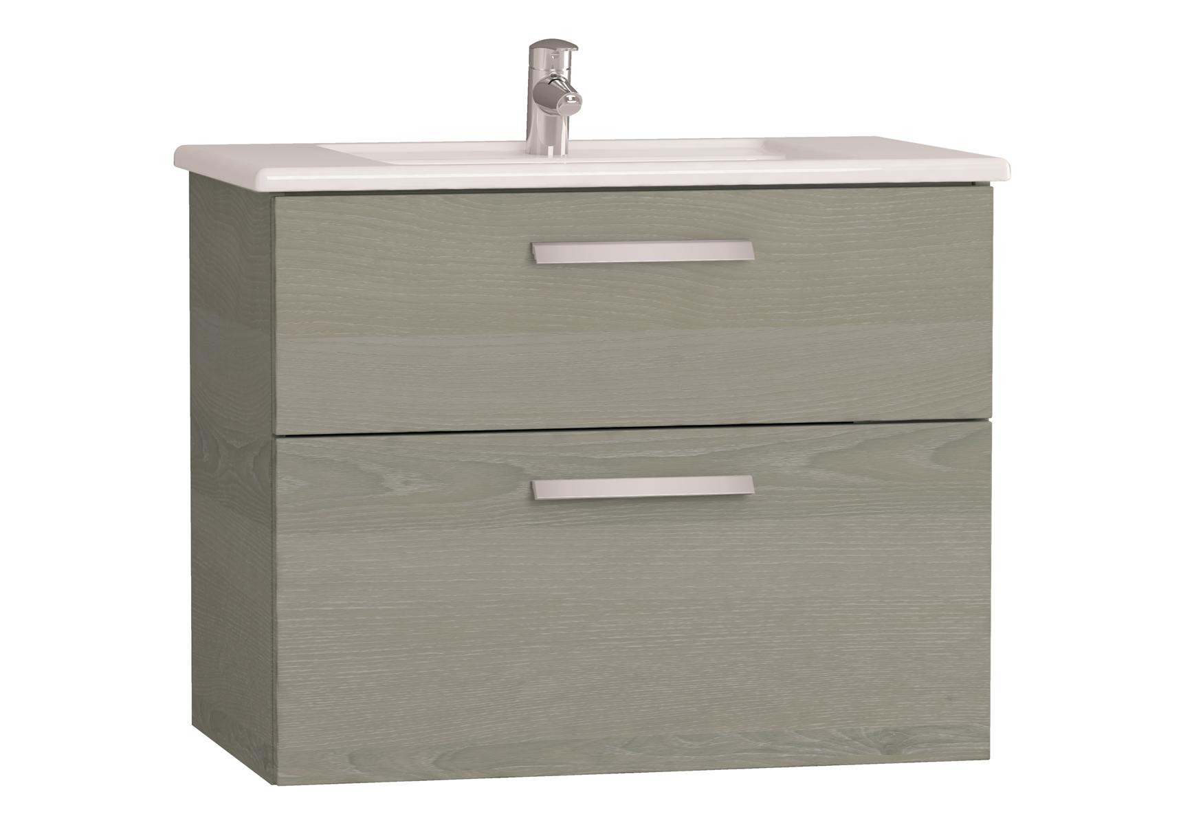 Integra meuble avec plan céramique avec deux tiroirs, 80 cm, chêne gris naturel