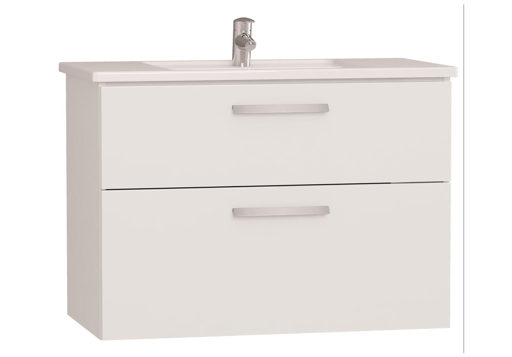 Integra meuble avec plan céramique avec deux tiroirs, 90 cm, blanc haute brillance