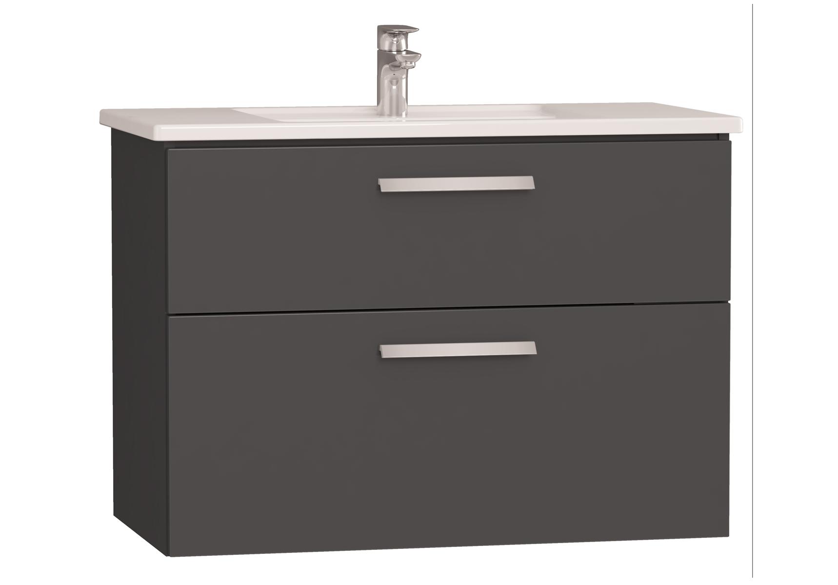 Integra meuble avec plan céramique avec deux tiroirs, 90 cm, anthraciteacite haute brillance