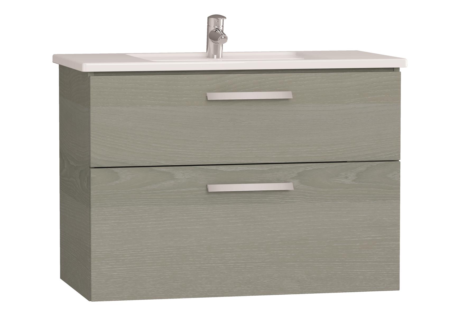 Integra meuble avec plan céramique avec deux tiroirs, 90 cm, chêne gris naturel