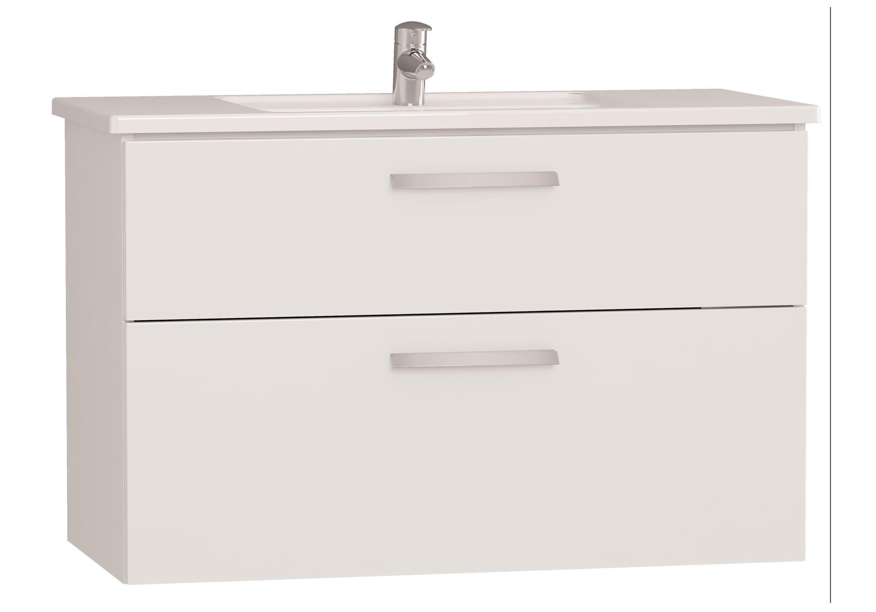 Integra meuble avec plan céramique avec deux tiroirs, 100 cm, blanc haute brillance