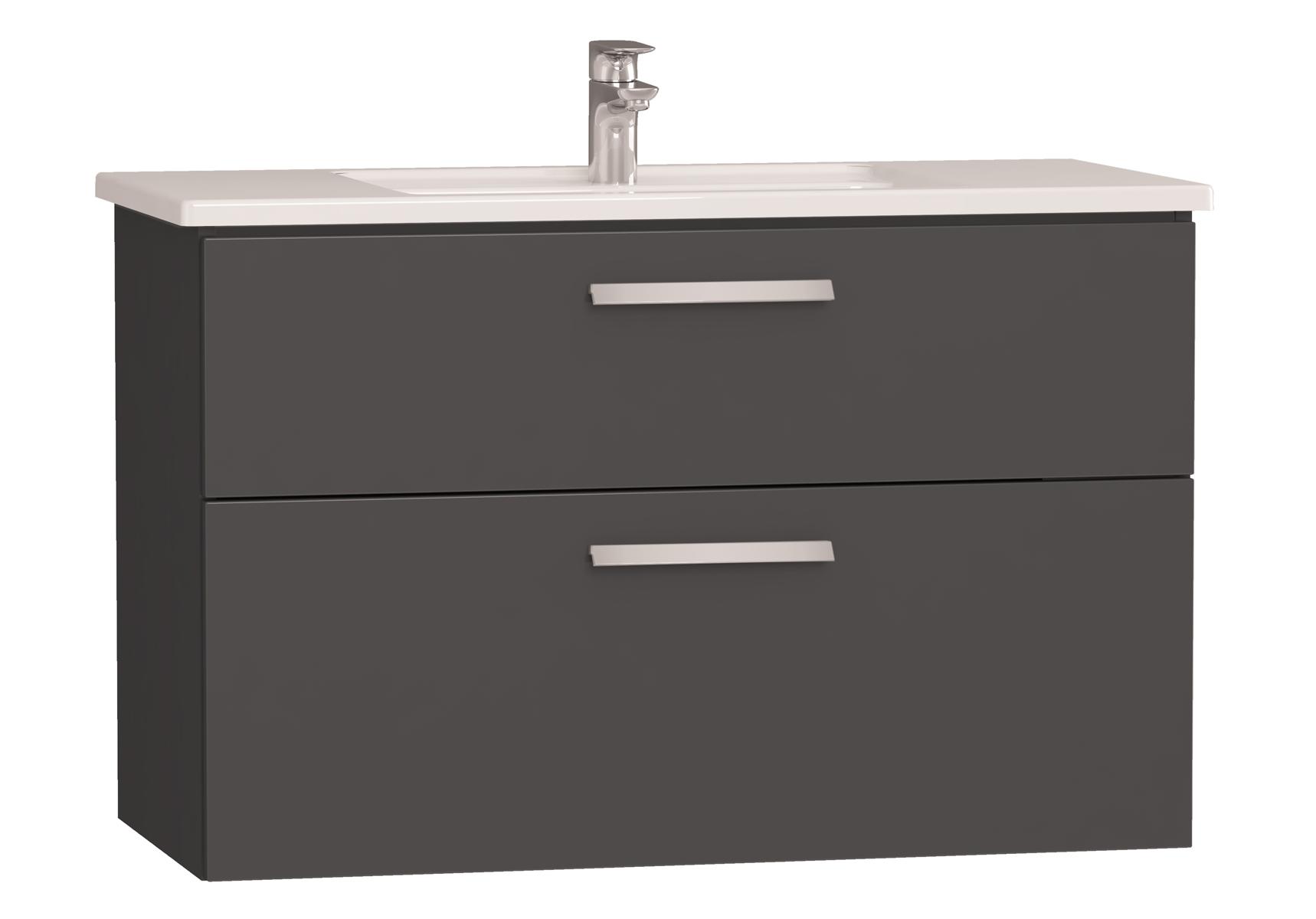 Integra meuble avec plan céramique avec deux tiroirs, 100 cm, anthraciteacite haute brillance