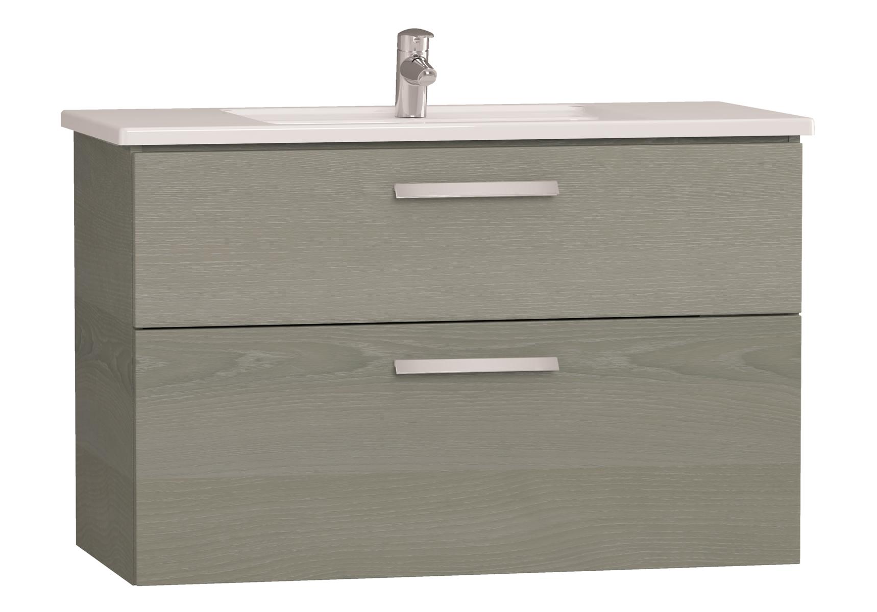 Integra meuble avec plan céramique avec deux tiroirs, 100 cm, chêne gris naturel