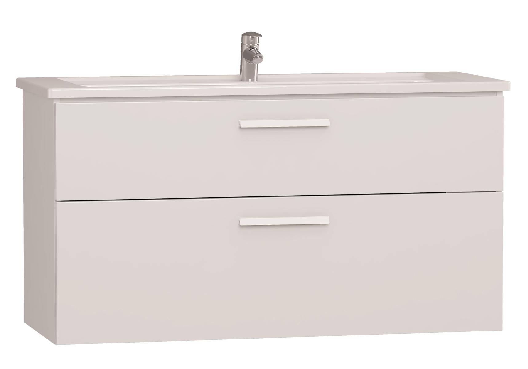 Integra meuble avec plan céramique avec deux tiroirs, 120 cm, blanc haute brillance