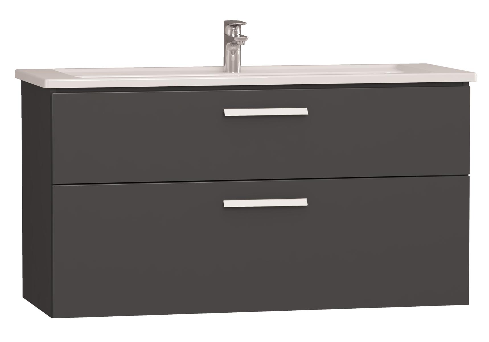 Integra meuble avec plan céramique avec deux tiroirs, 120 cm, anthraciteacite haute brillance