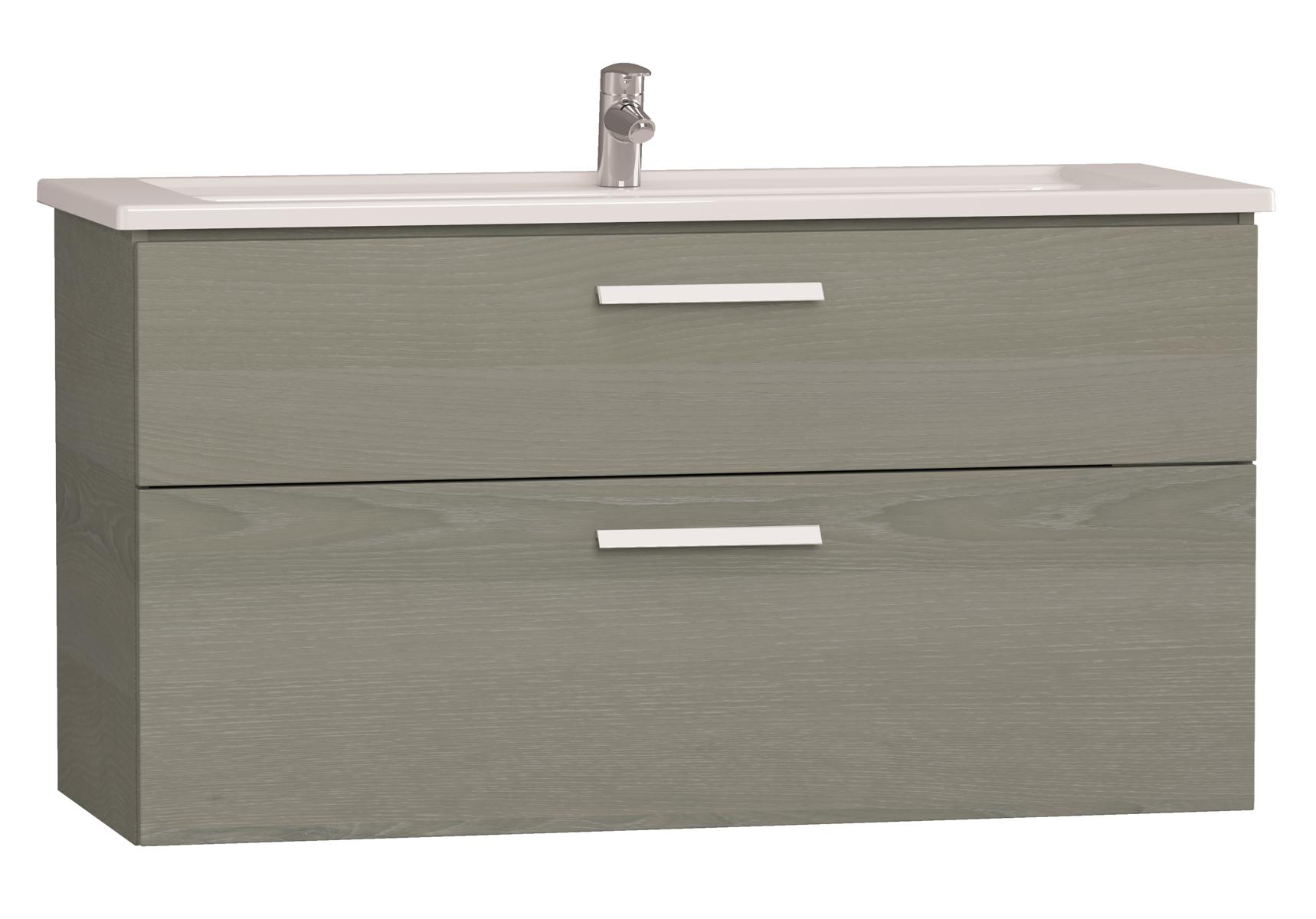 Integra meuble avec plan céramique avec deux tiroirs, 120 cm, chêne gris naturel