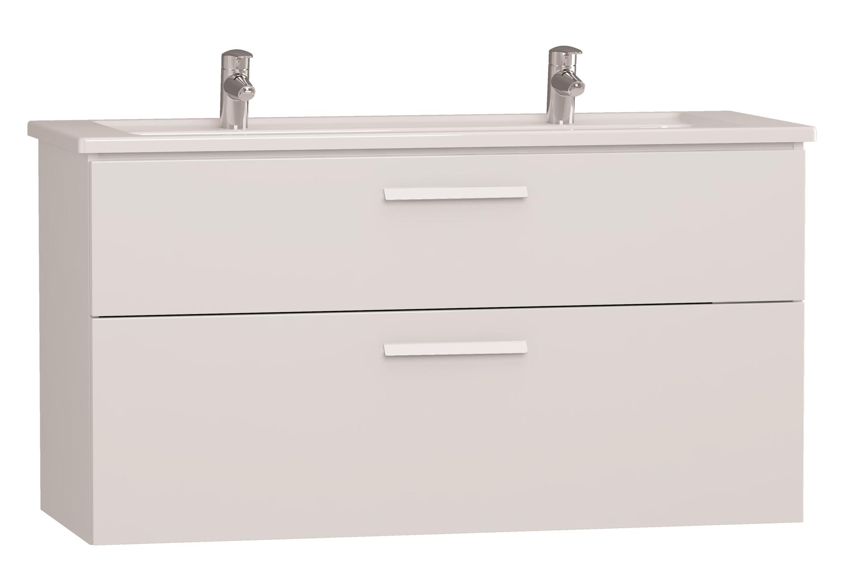 Integra meuble avec plan céramique avec deux trous centraux pour robinet, 120 cm, blanc haute brillance