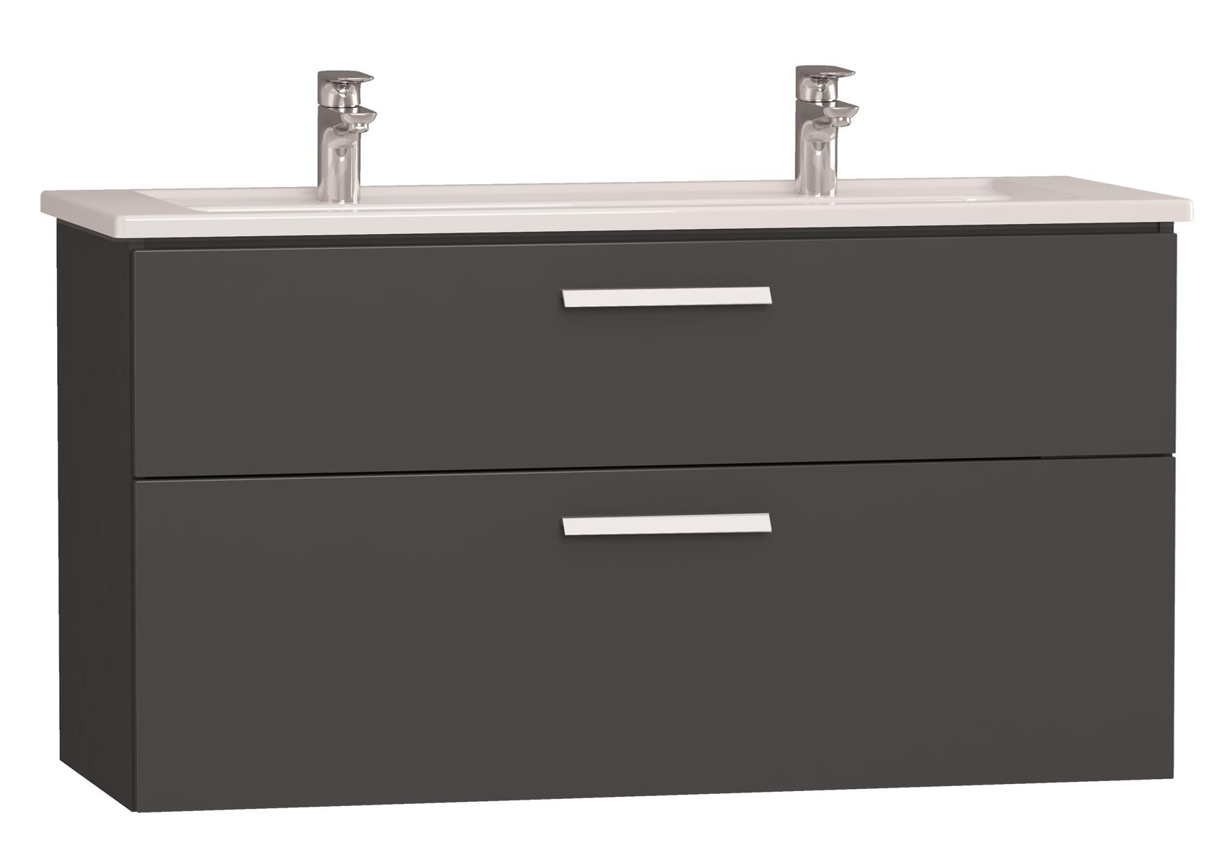 Integra meuble avec plan céramique avec deux trous centraux pour robinet, 120 cm, anthraciteacite haute brillance
