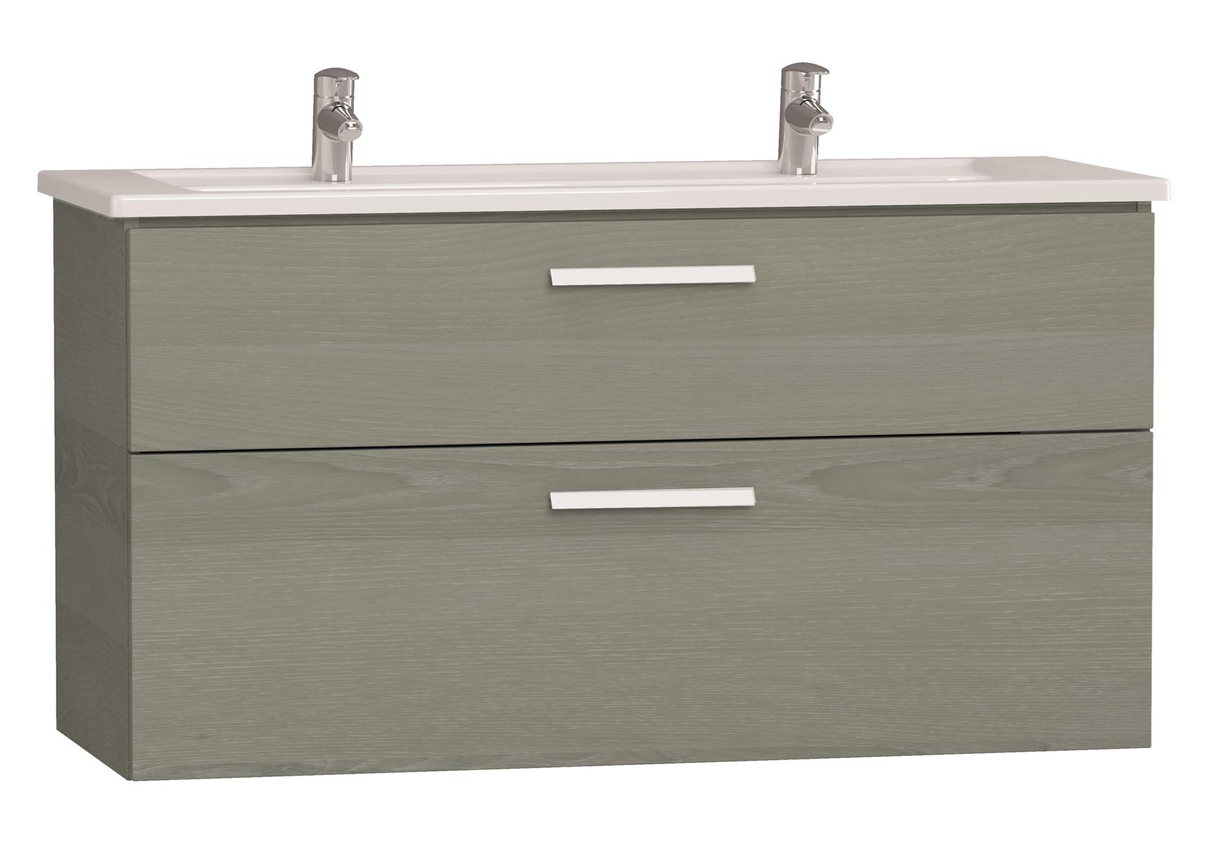 Integra meuble avec plan céramique avec deux trous centraux pour robinet, 120 cm, chêne gris naturel
