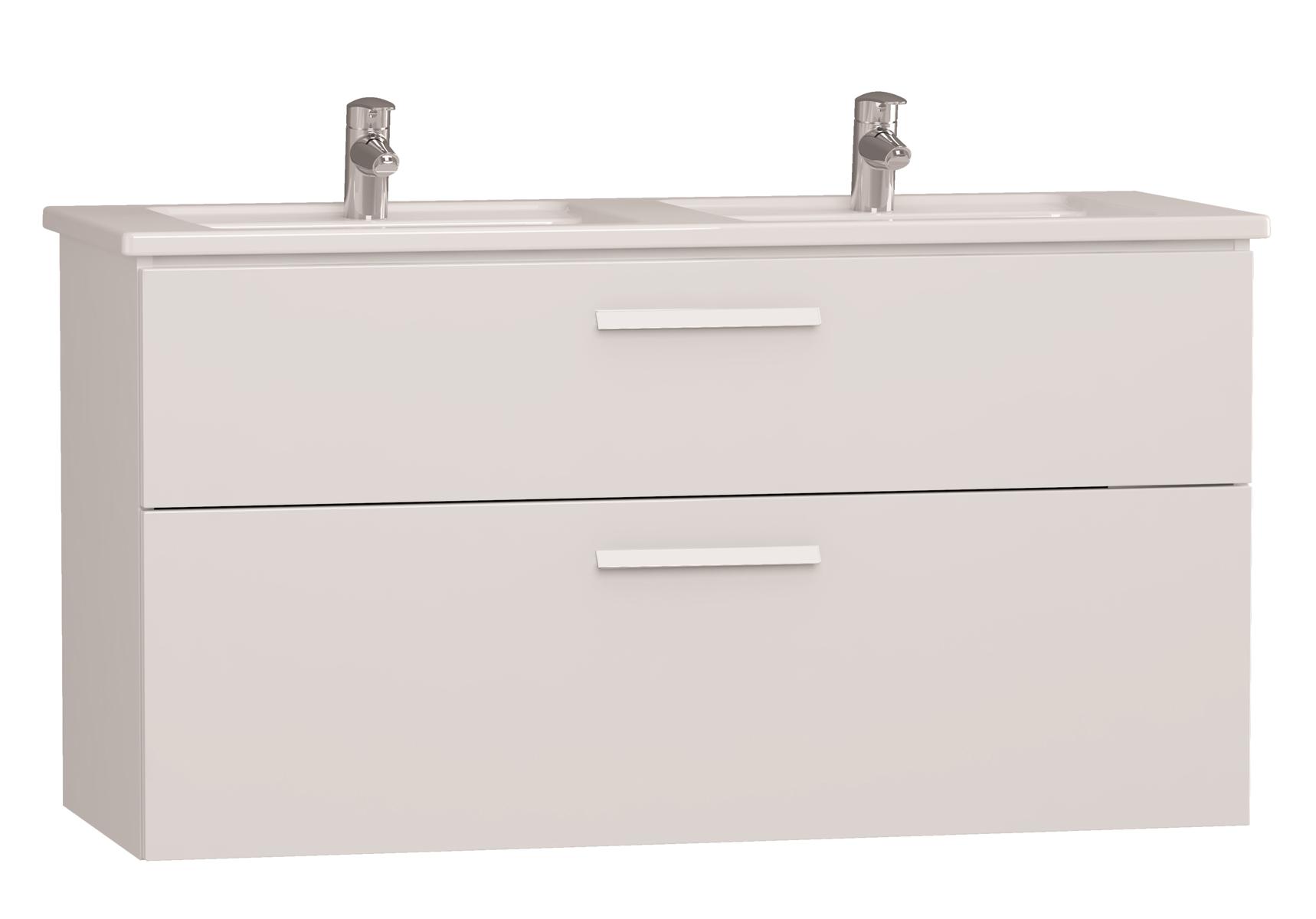 Integra meuble avec plan céramique avec lavabo double, 120 cm, blanc haute brillance