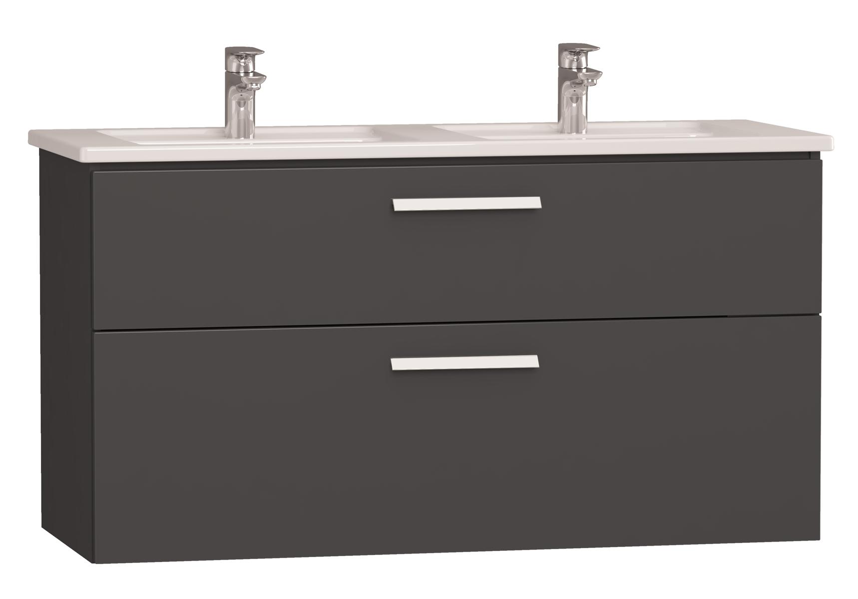 Integra meuble avec plan céramique avec lavabo double, 120 cm, anthraciteacite haute brillance