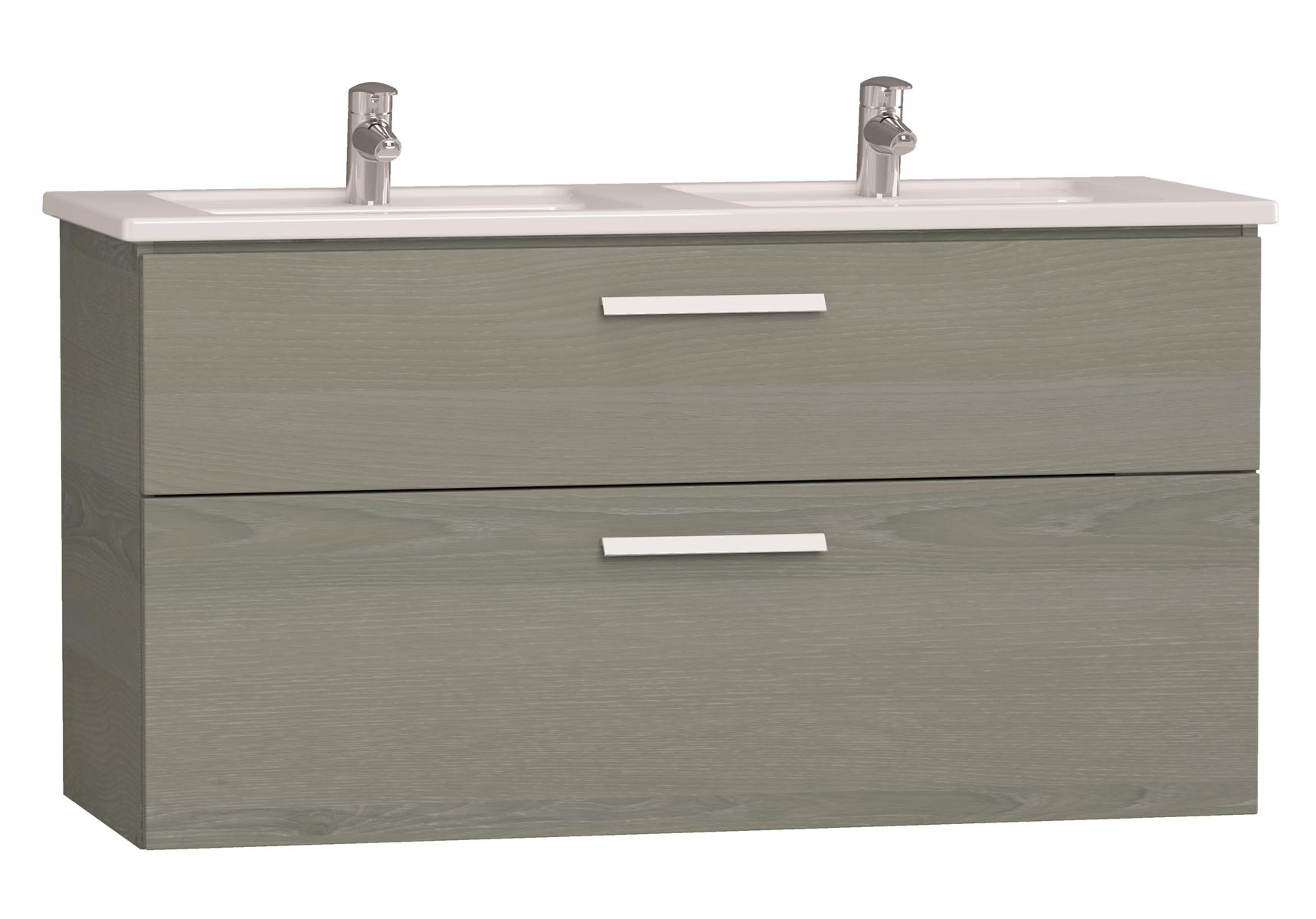 Integra meuble avec plan céramique avec lavabo double, 120 cm, chêne gris naturel