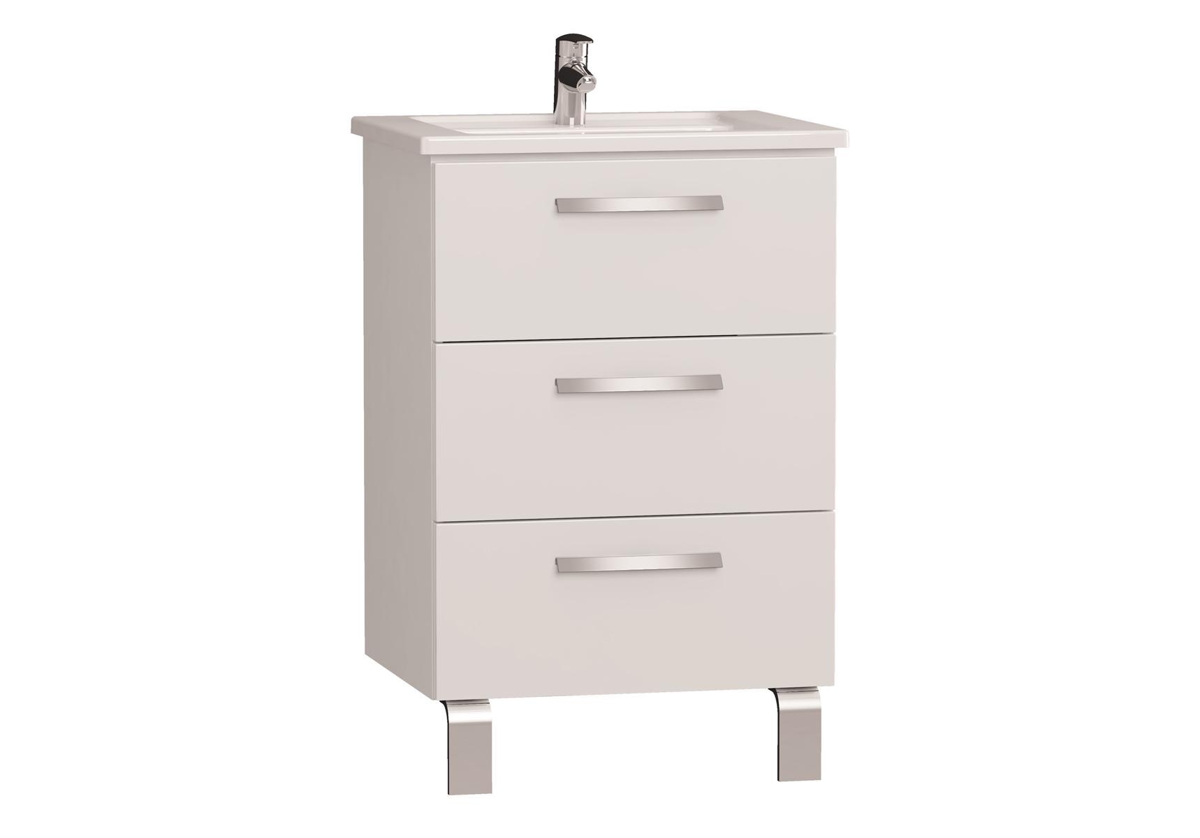 Integra meuble avec plan céramique avec trois tiroirs, 60 cm, blanc haute brillance