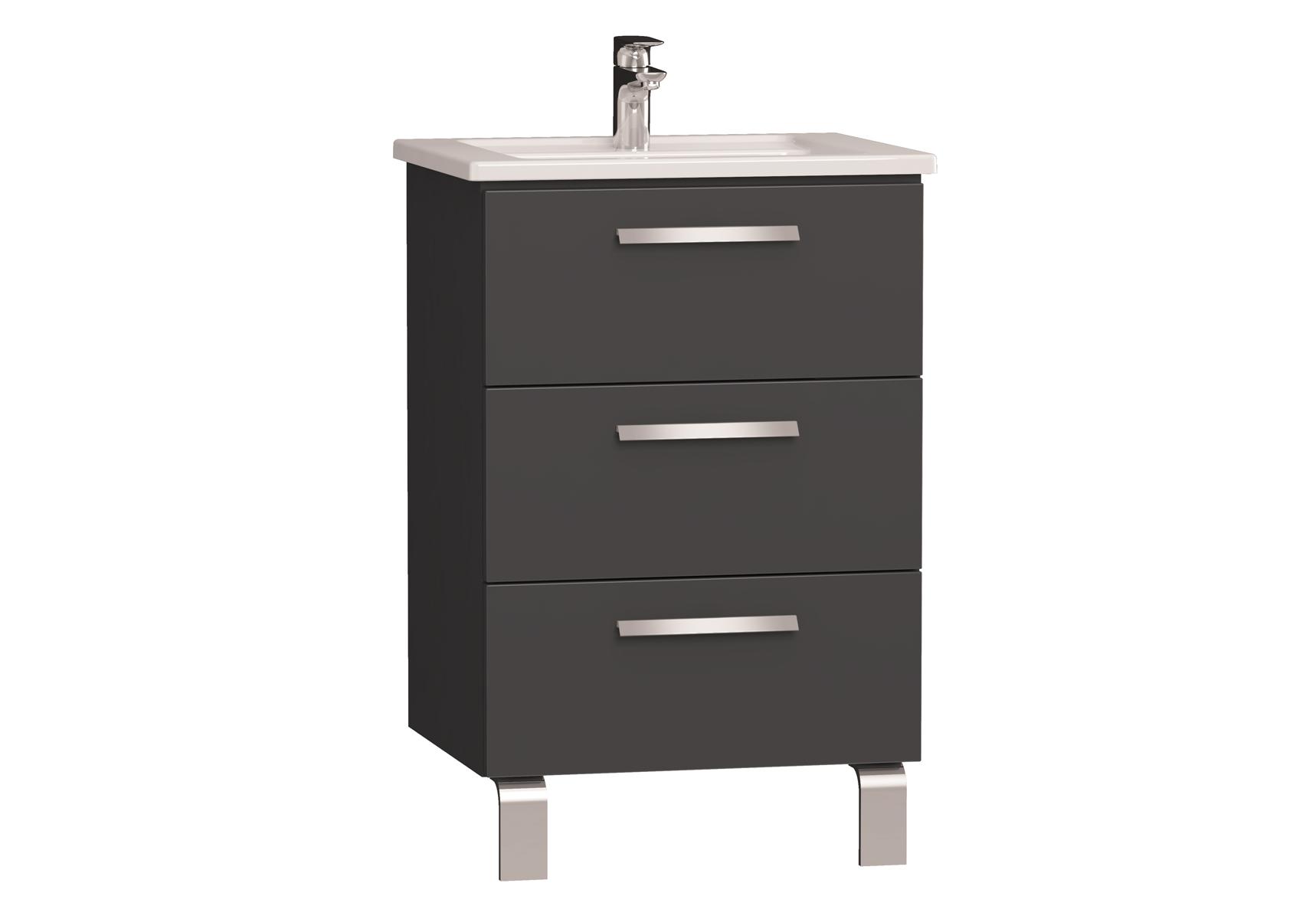 Integra meuble avec plan céramique avec trois tiroirs, 60 cm, anthraciteacite haute brillance