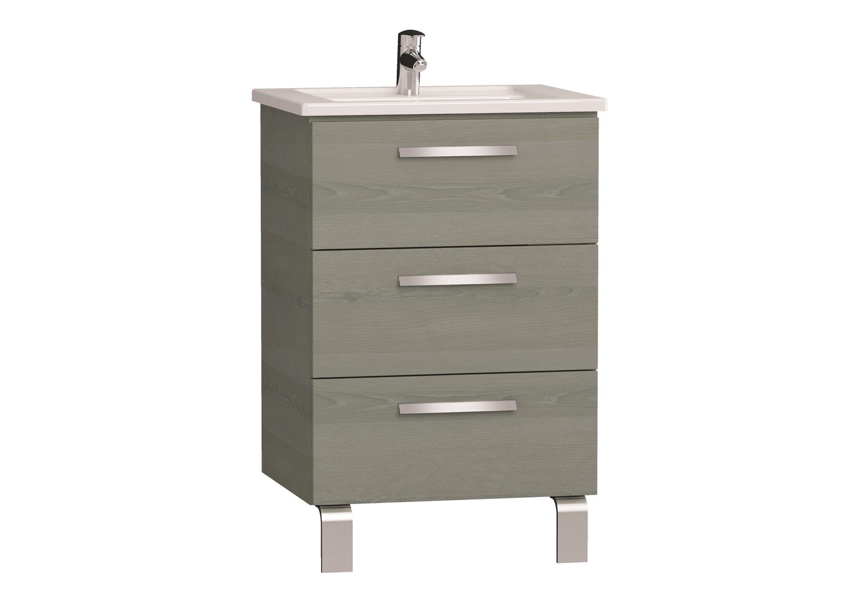 Integra meuble avec plan céramique avec trois tiroirs, 60 cm, chêne gris naturel