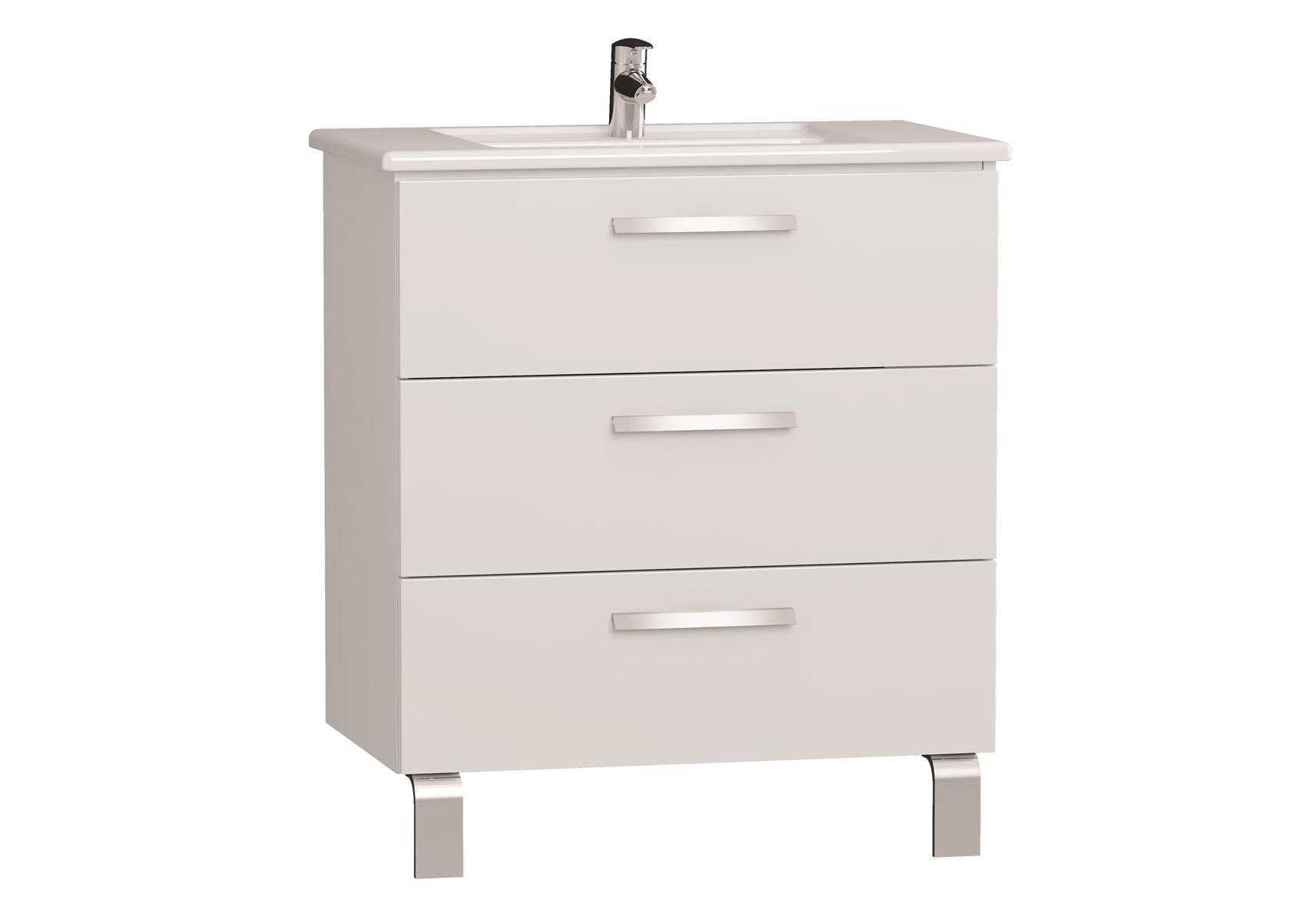 Integra meuble avec plan céramique avec trois tiroirs, 80 cm, blanc haute brillance