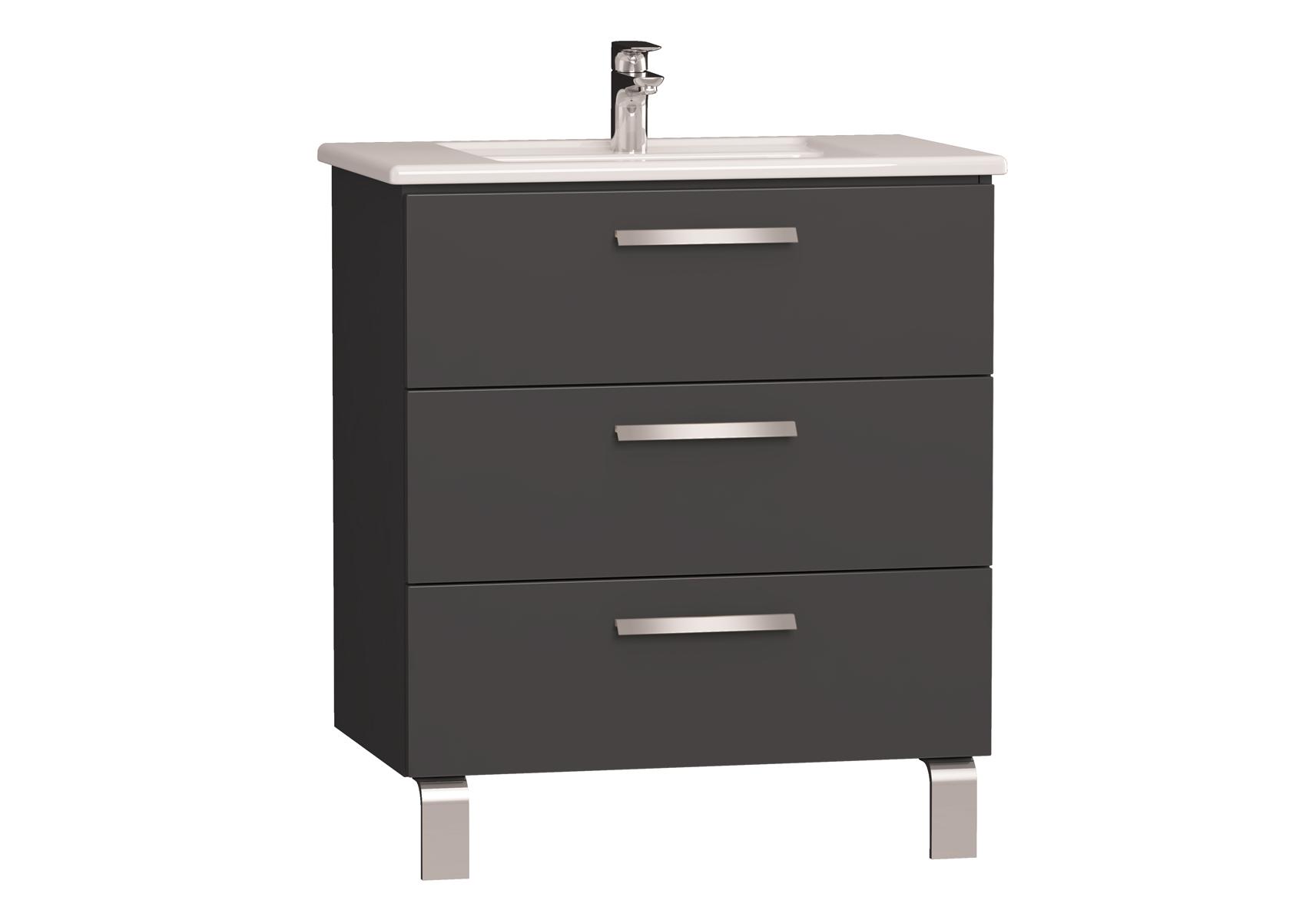 Integra meuble avec plan céramique avec trois tiroirs, 80 cm, anthraciteacite haute brillance