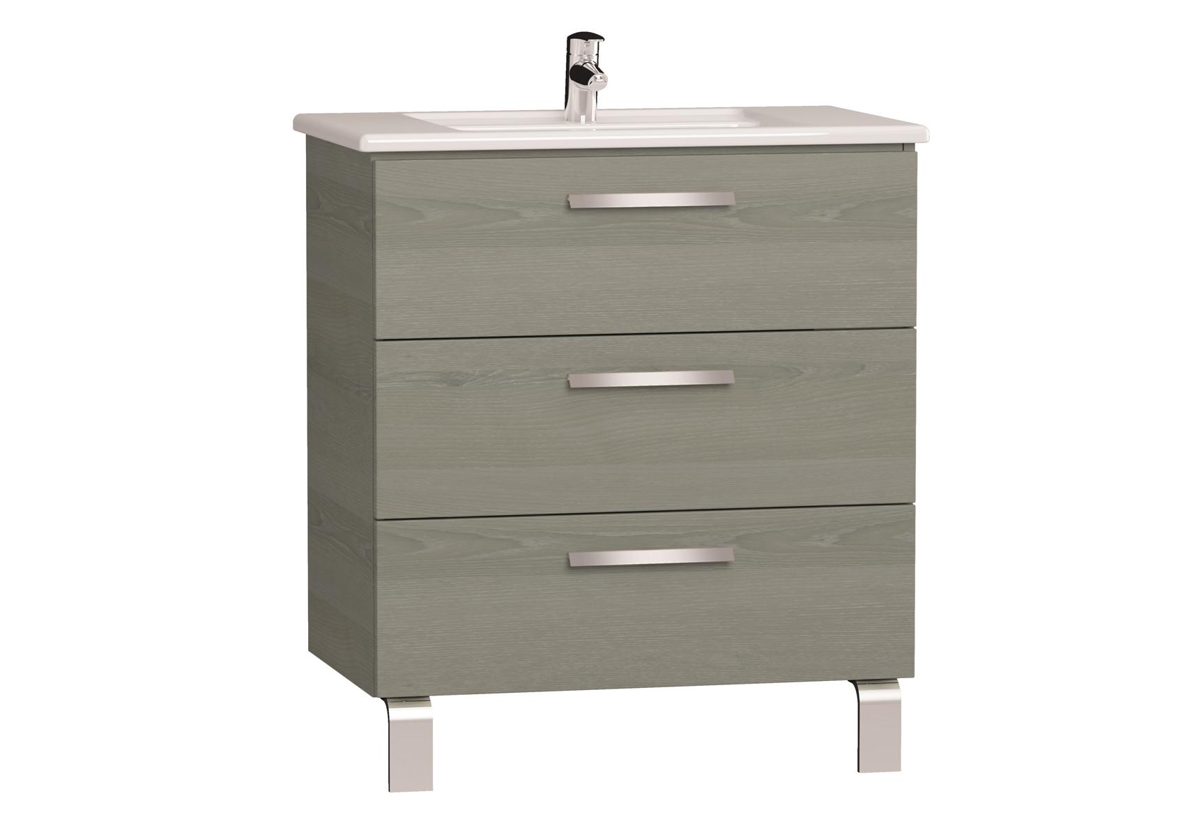 Integra meuble avec plan céramique avec trois tiroirs, 80 cm, chêne gris naturel