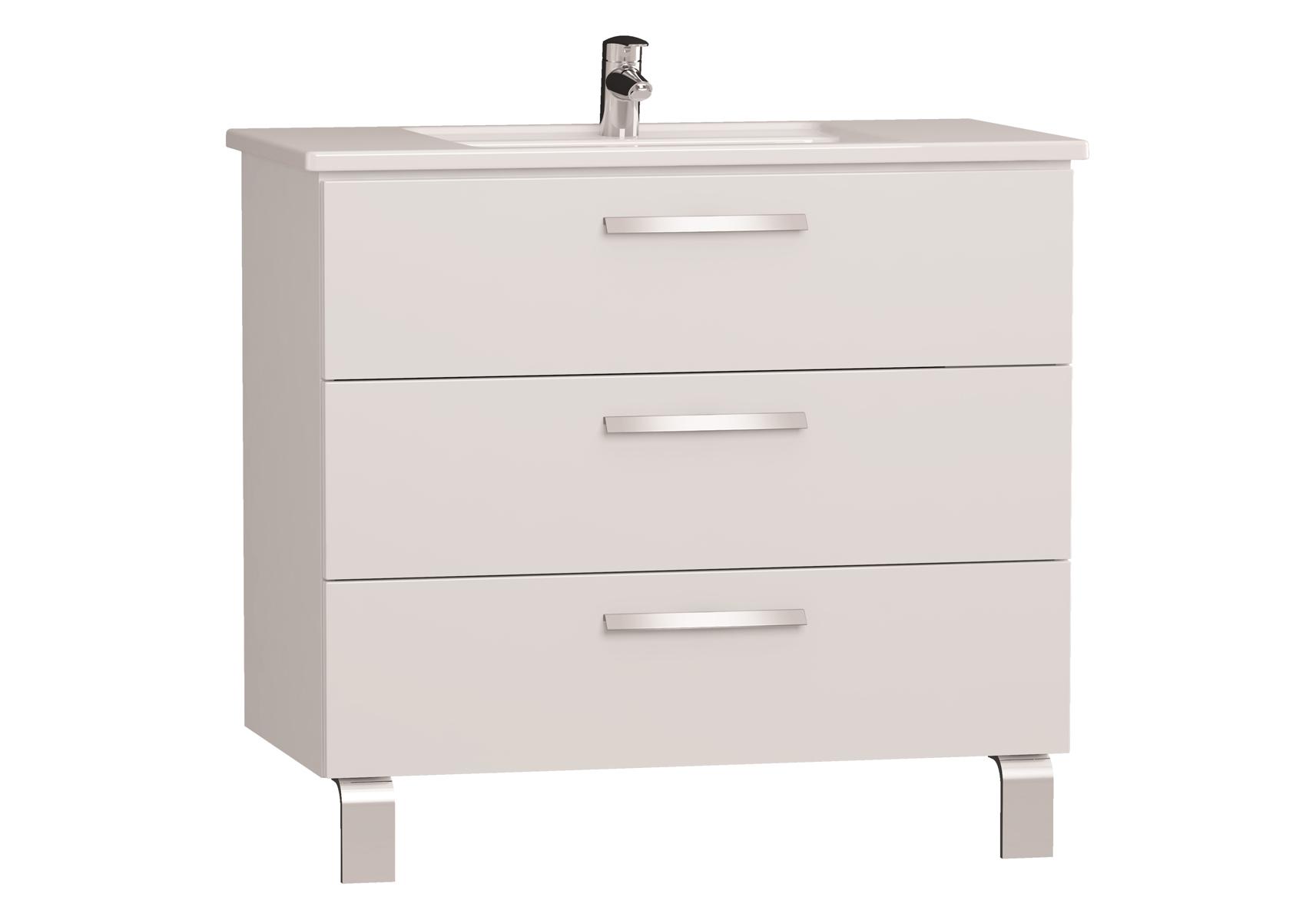 Integra meuble avec plan céramique avec trois tiroirs, 90 cm, blanc haute brillance