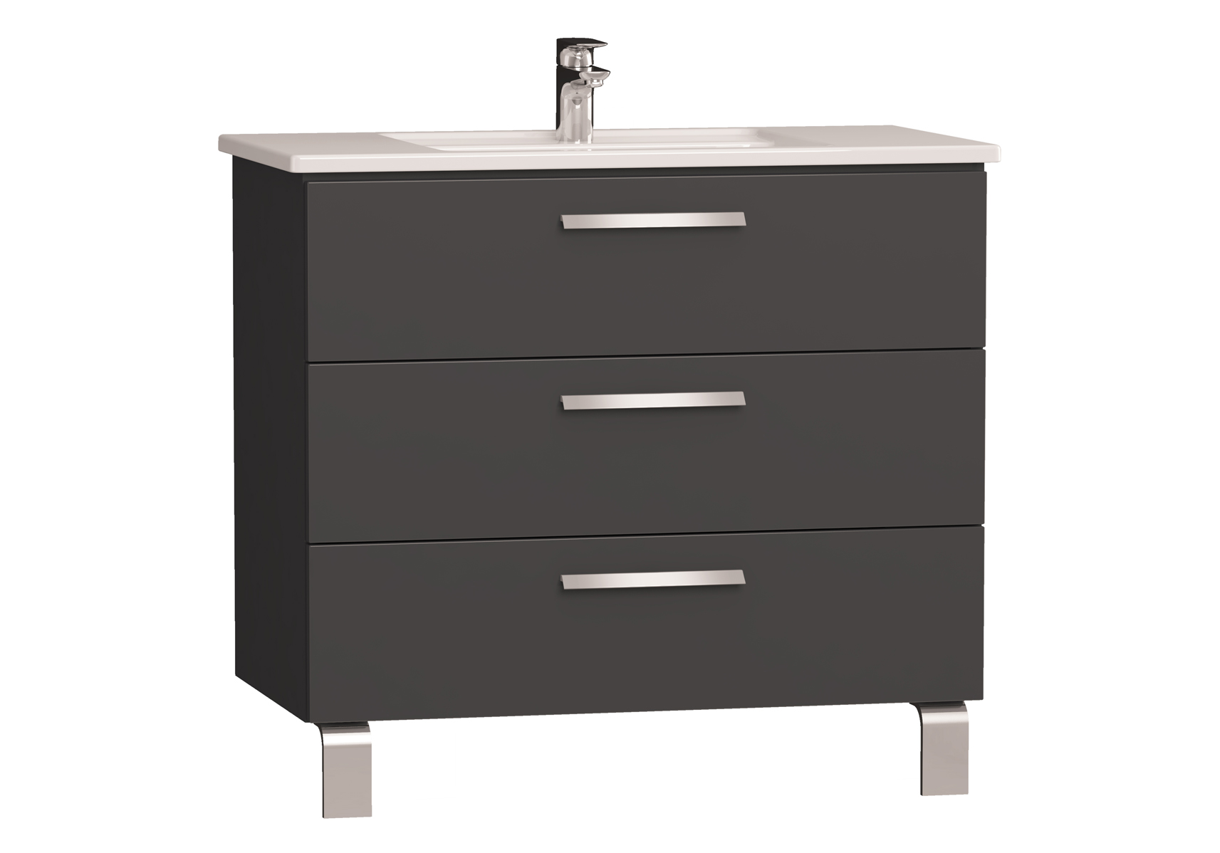 Integra meuble avec plan céramique avec trois tiroirs, 90 cm, anthraciteacite haute brillance