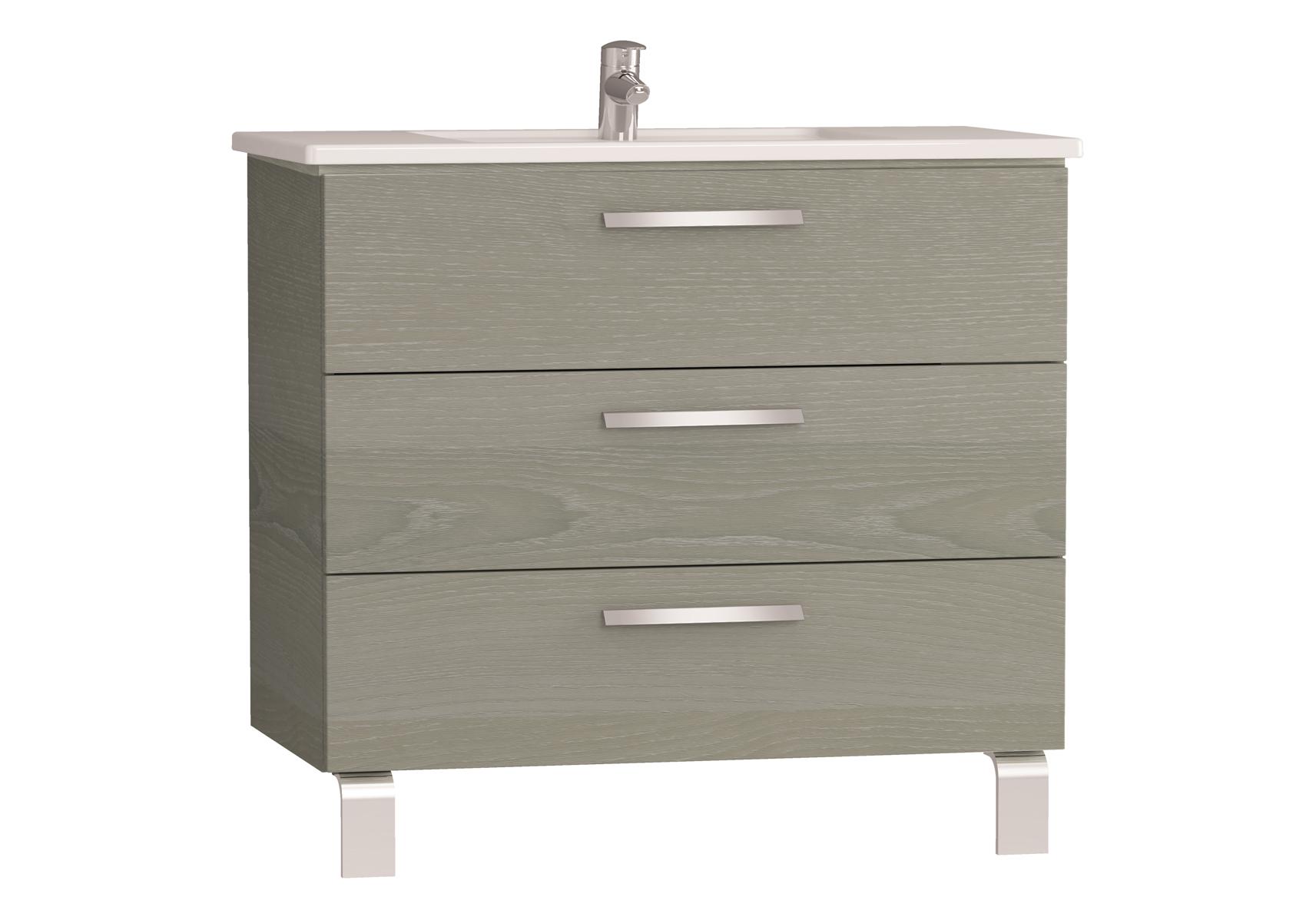 Integra meuble avec plan céramique avec trois tiroirs, 90 cm, chêne gris naturel