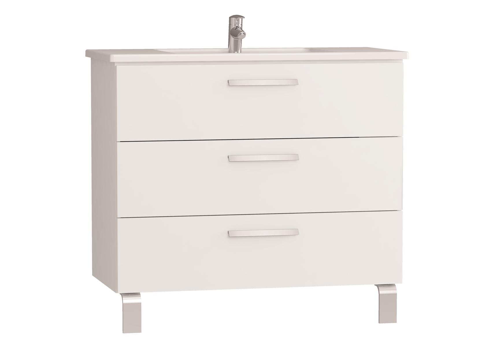 Integra meuble avec plan céramique avec trois tiroirs, 100 cm, blanc haute brillance