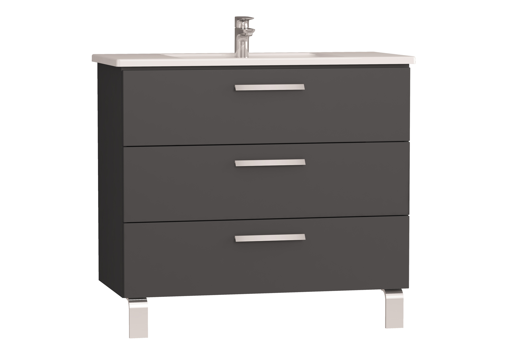 Integra meuble avec plan céramique avec trois tiroirs, 100 cm, anthraciteacite haute brillance