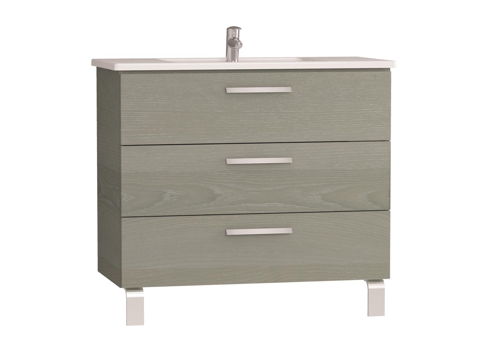 Integra meuble avec plan céramique avec trois tiroirs, 100 cm, chêne gris naturel