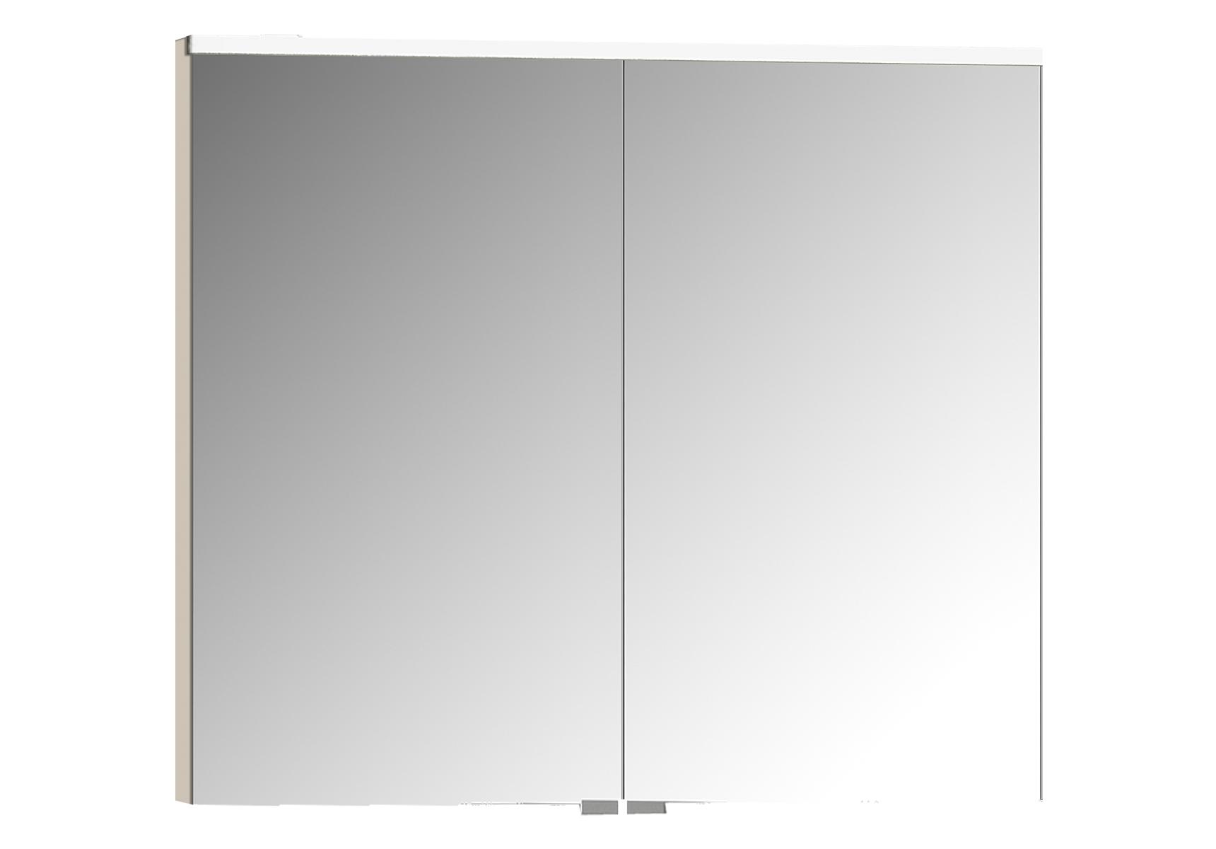 Sento Premium LED-Spiegelschrank, 80 cm, Crème Matt
