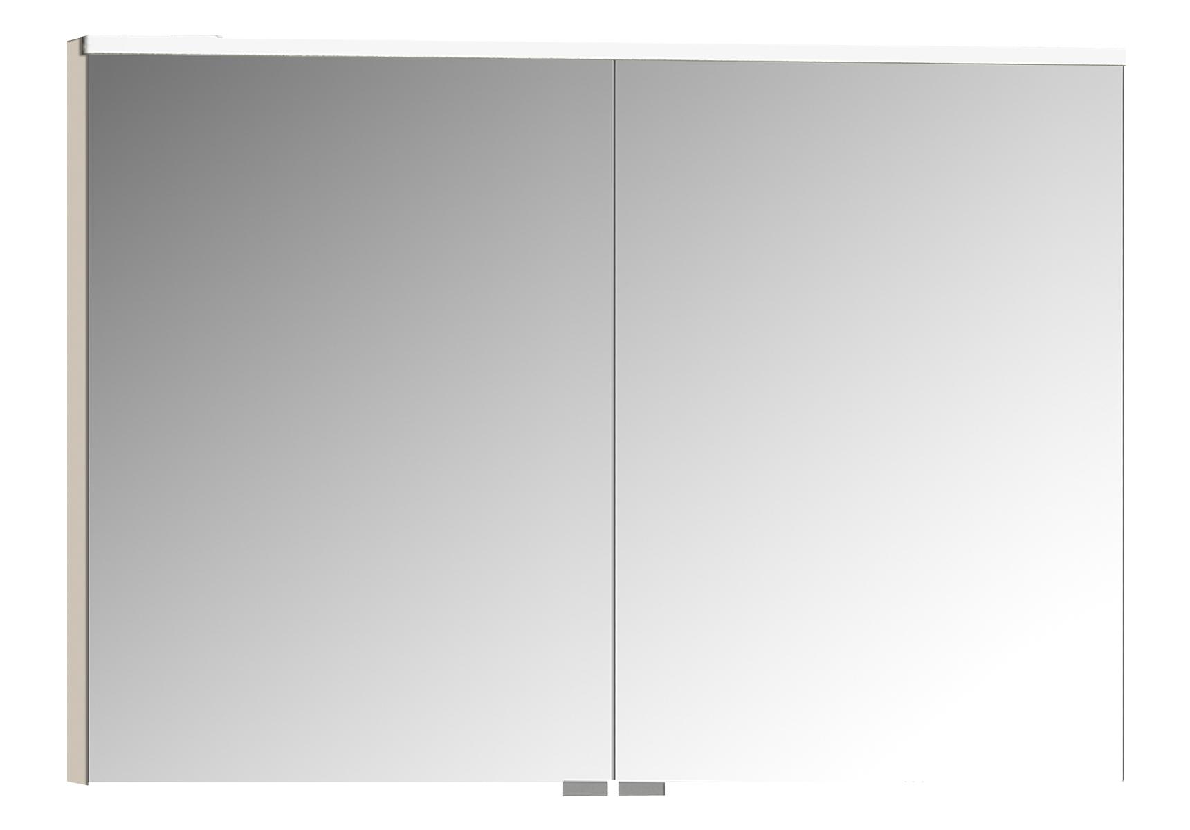 Sento Premium LED-Spiegelschrank, 100 cm, Crème Matt