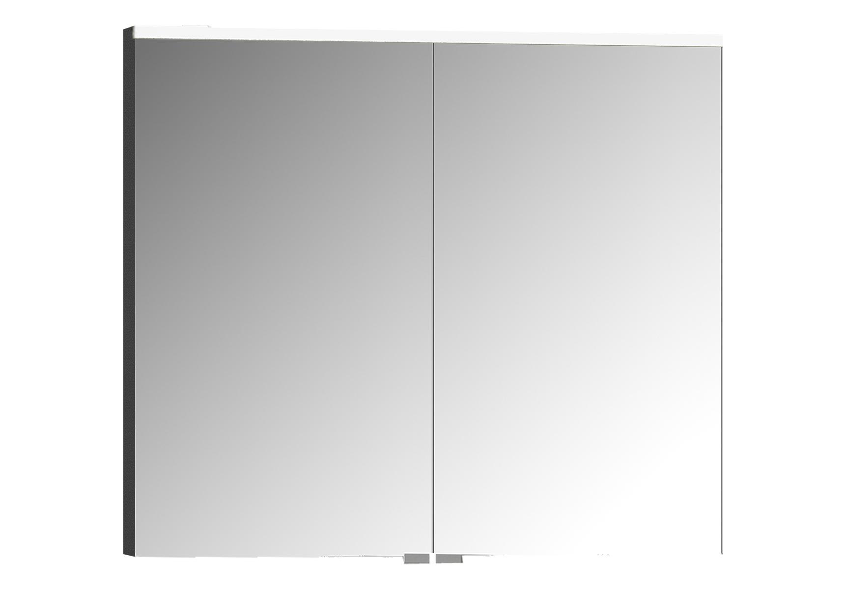 Integra Premiumarmoire de toilette, 80 cm, éclairage LED horizontale,anthraciteacite haute brilliance, 2 portes