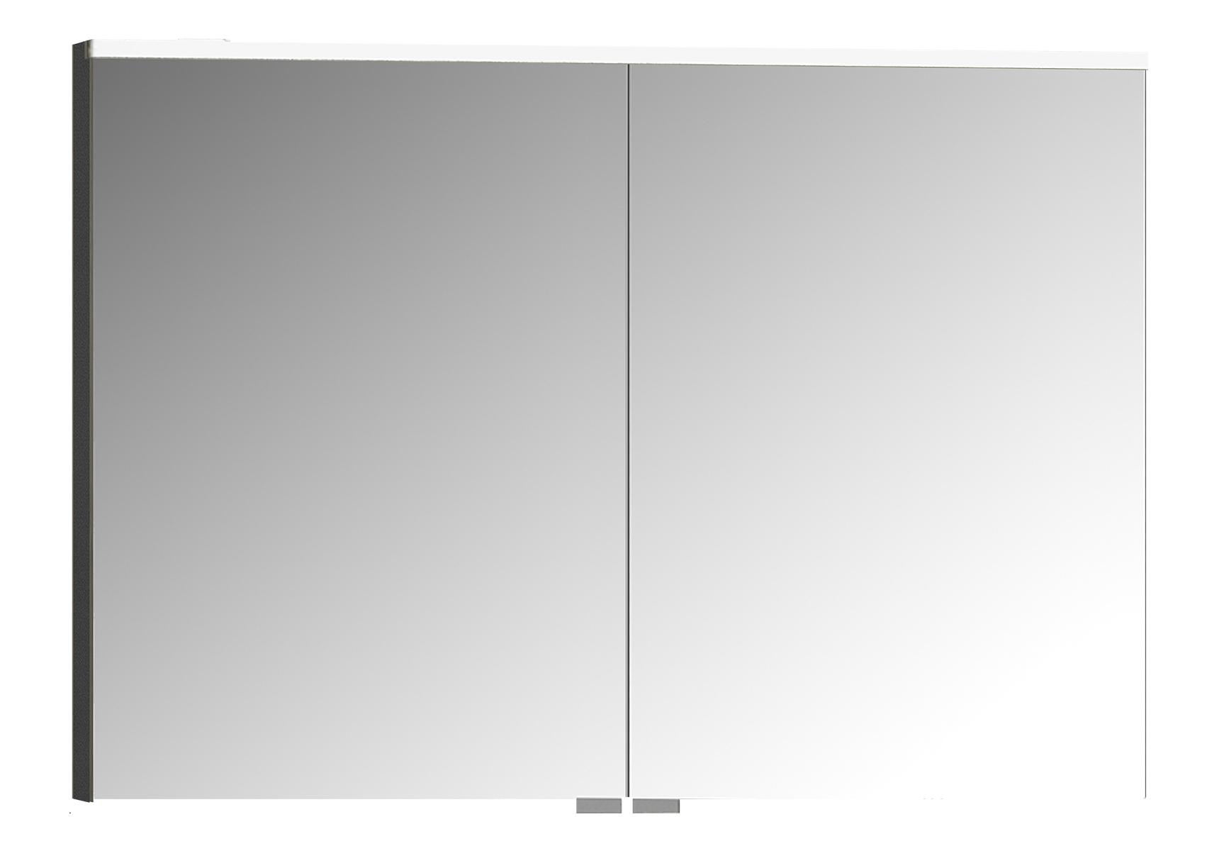 Integra Premiumarmoire de toilette, 100 cm, éclairage LED horizontale,anthraciteacite haute brilliance, 2 portes