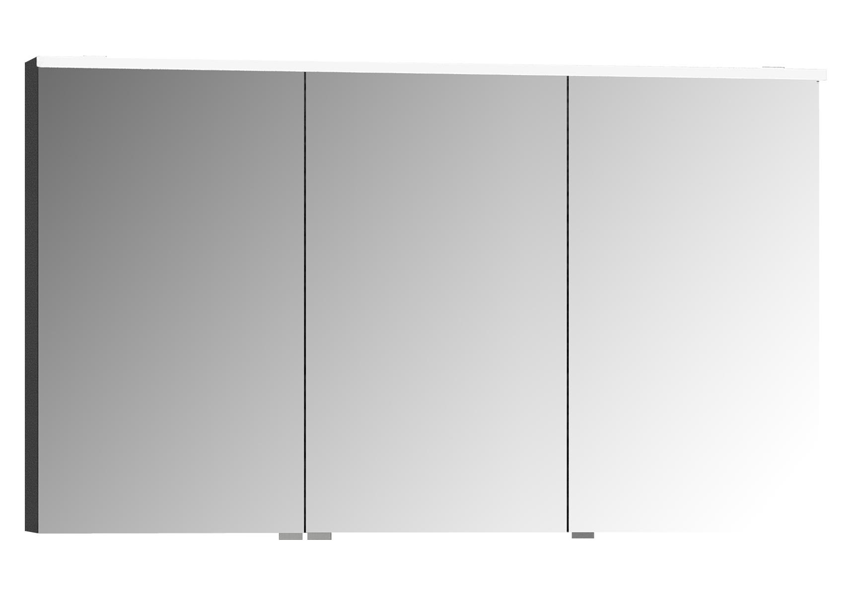 Integra Premium armoire de toilette, 120 cm, éclairage LED horizontale,anthraciteacite haute brilliance, 3 portes