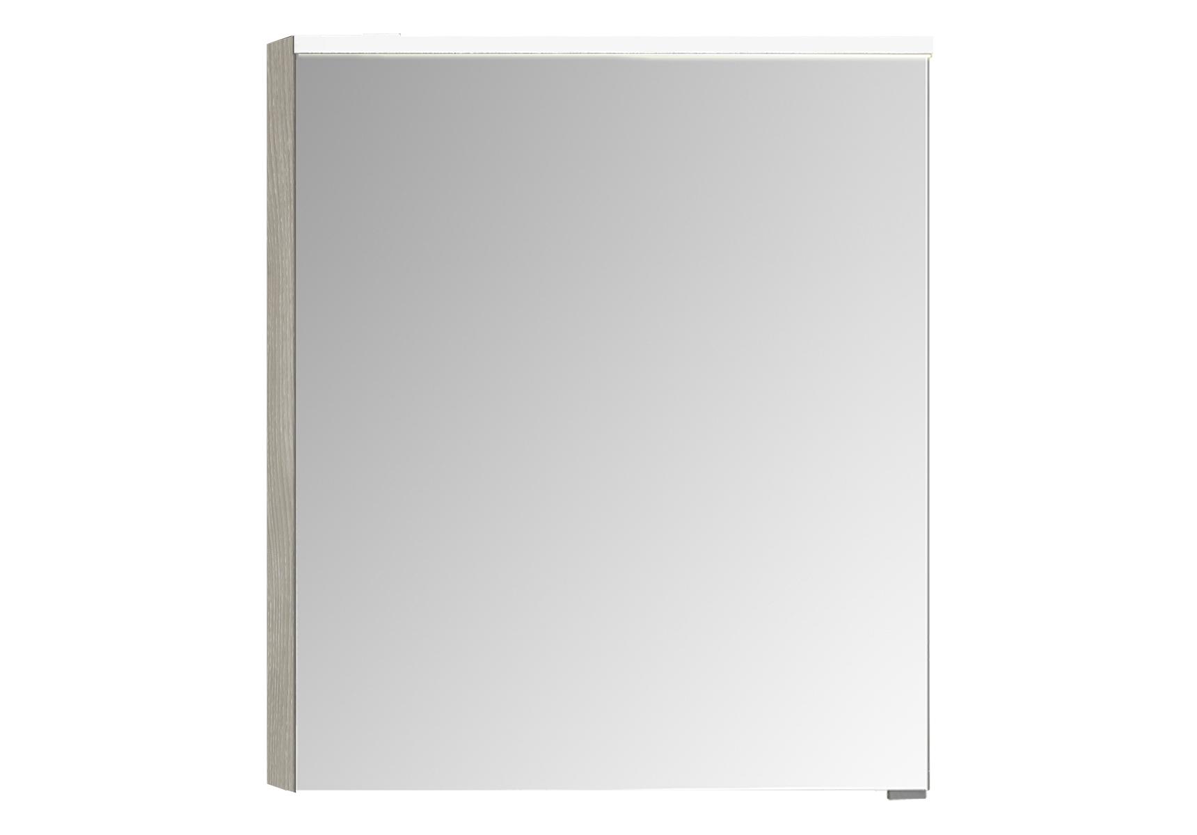 Integra Premium armoire de toilette, 60 cm, éclairage LED horizontale, chêne gris naturel, gauche