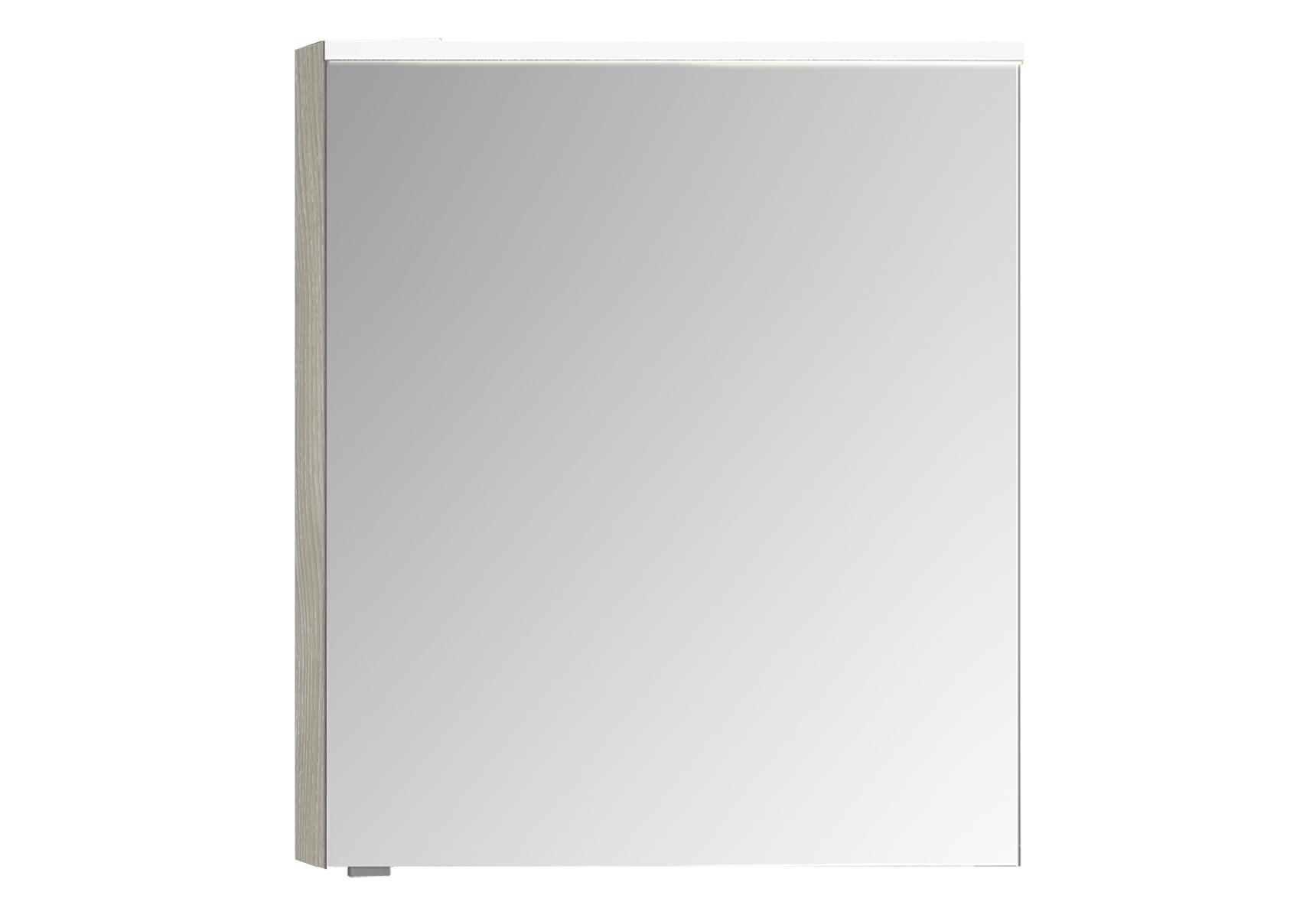 Integra Premium armoire de toilette, 60 cm, éclairage LED horizontale, chêne gris naturel, droite