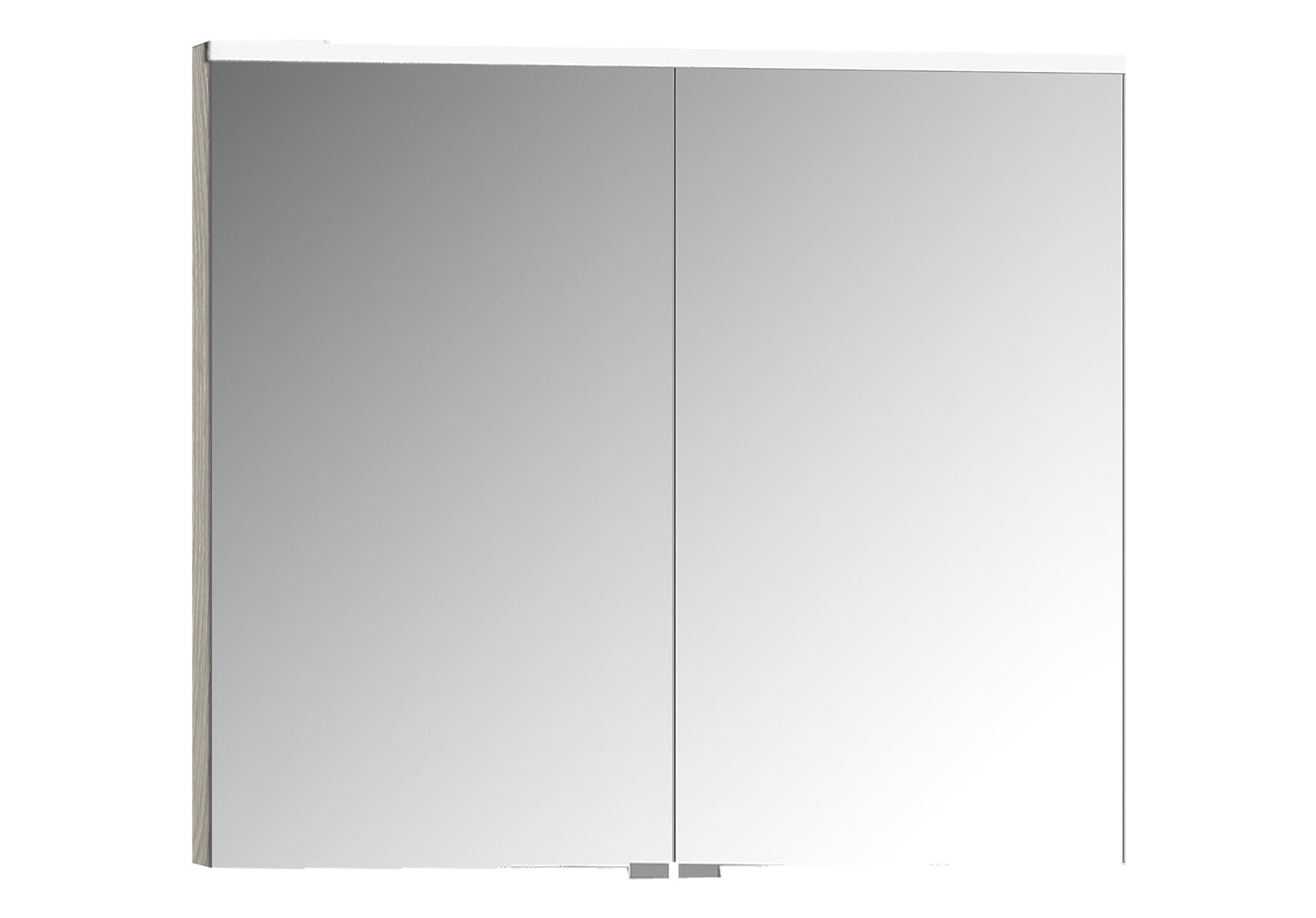 Integra Premium armoire de toilette, 80 cm, éclairage LED horizontale,chêne gris naturel, 2 portes
