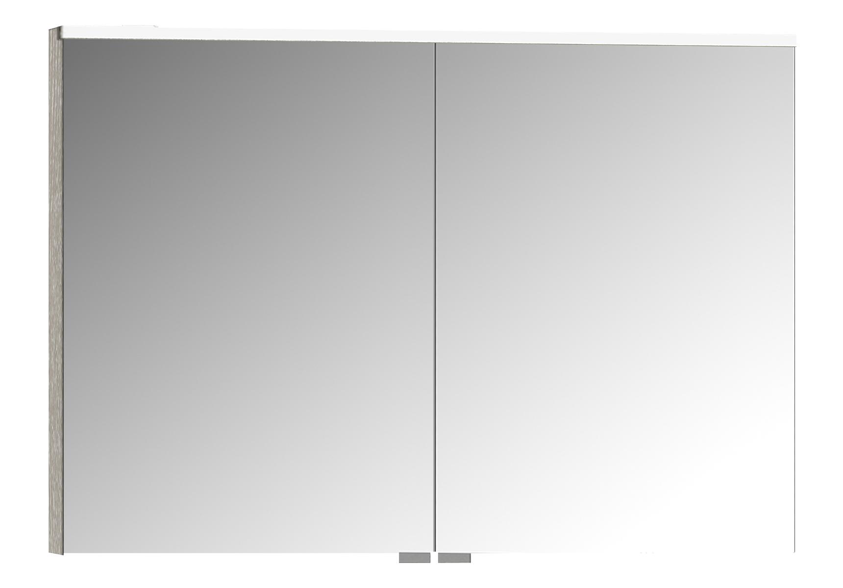 Integra Premium armoire de toilette, 100 cm, éclairage LED horizontale,chêne gris naturel, 2 portes