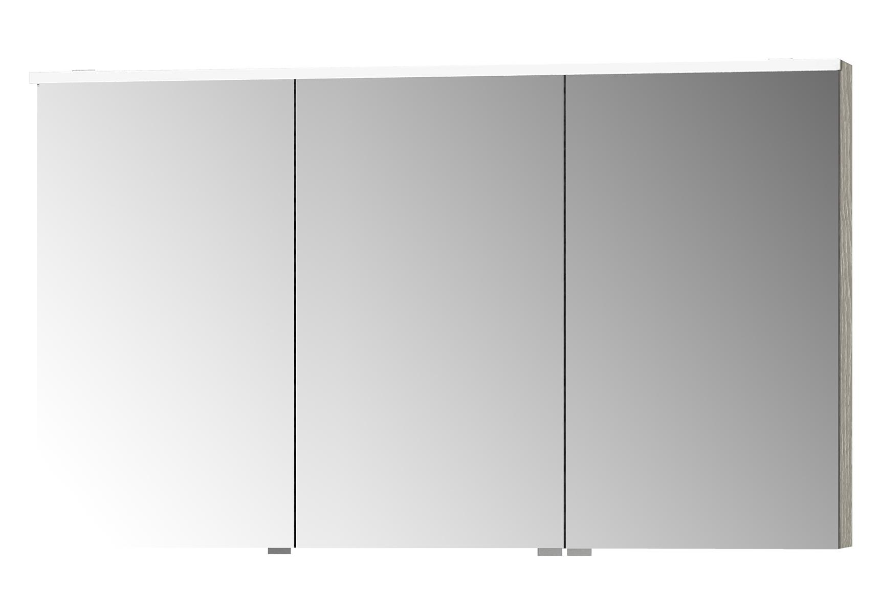 Integra Premium armoire de toilette, 120 cm, éclairage LED horizontale,chêne gris naturel, 3 portes
