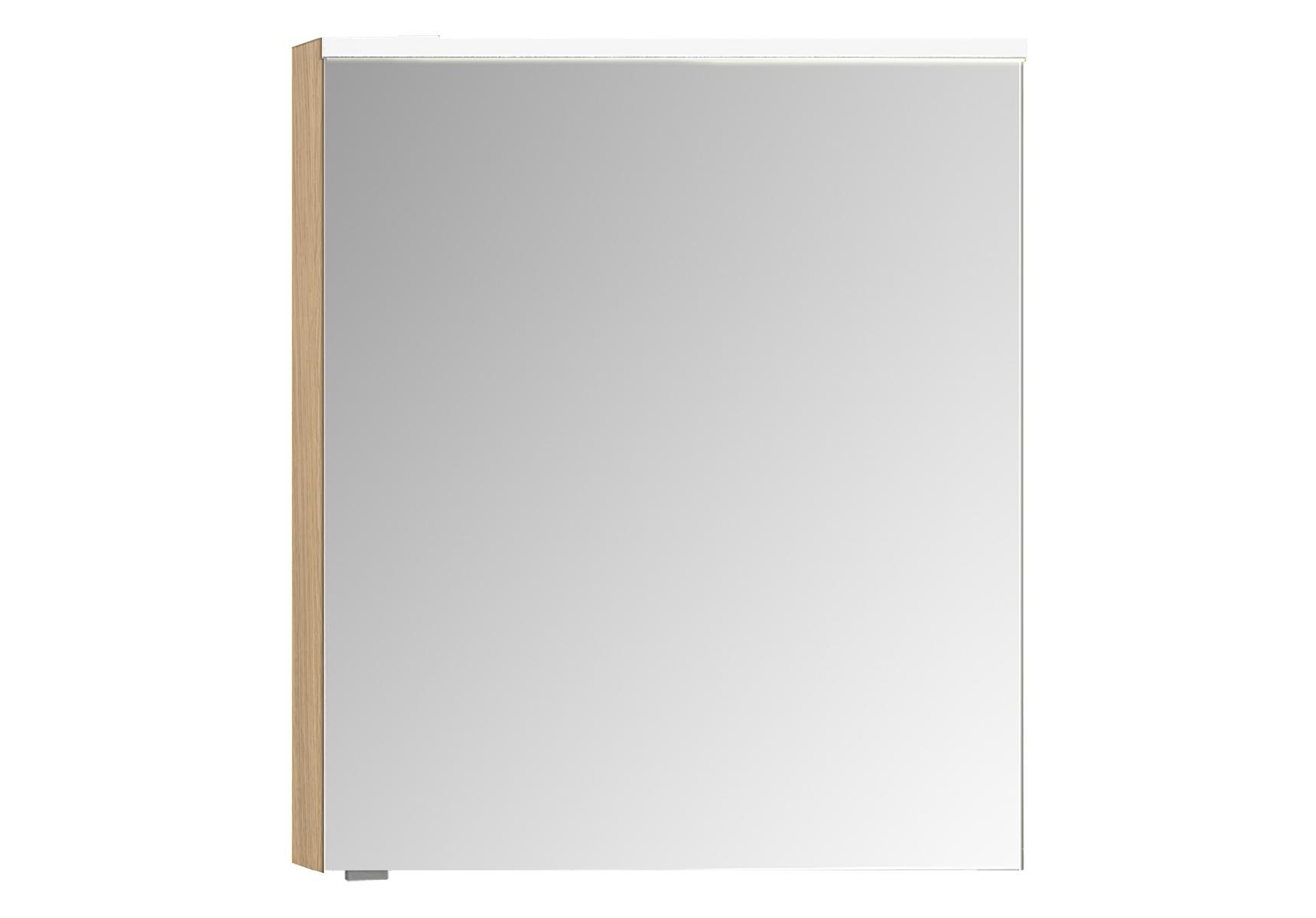 Sento Premium armoire de toilette, 60 cm, éclairage LED horizontale, chêne naturel, droite