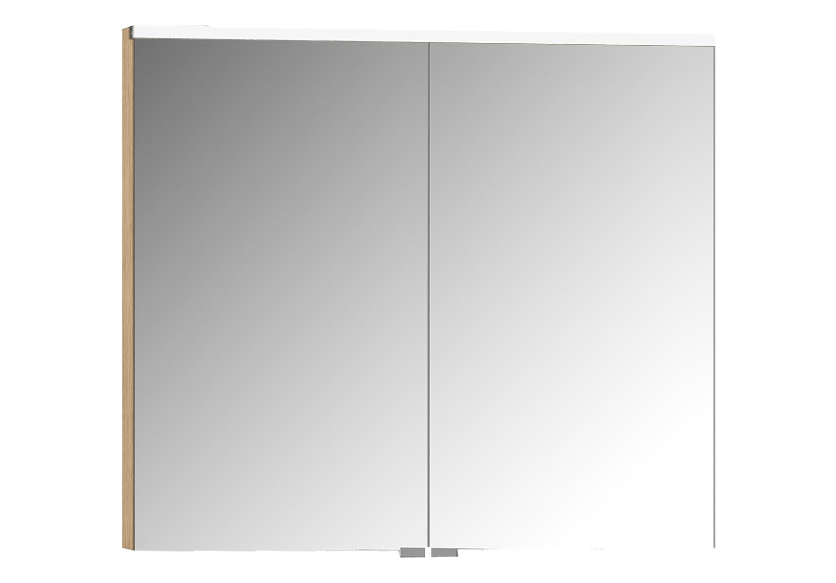 Sento Premium armoire de toilette, 80 cm, éclairage LED horizontale, chêne naturel, 2 portes